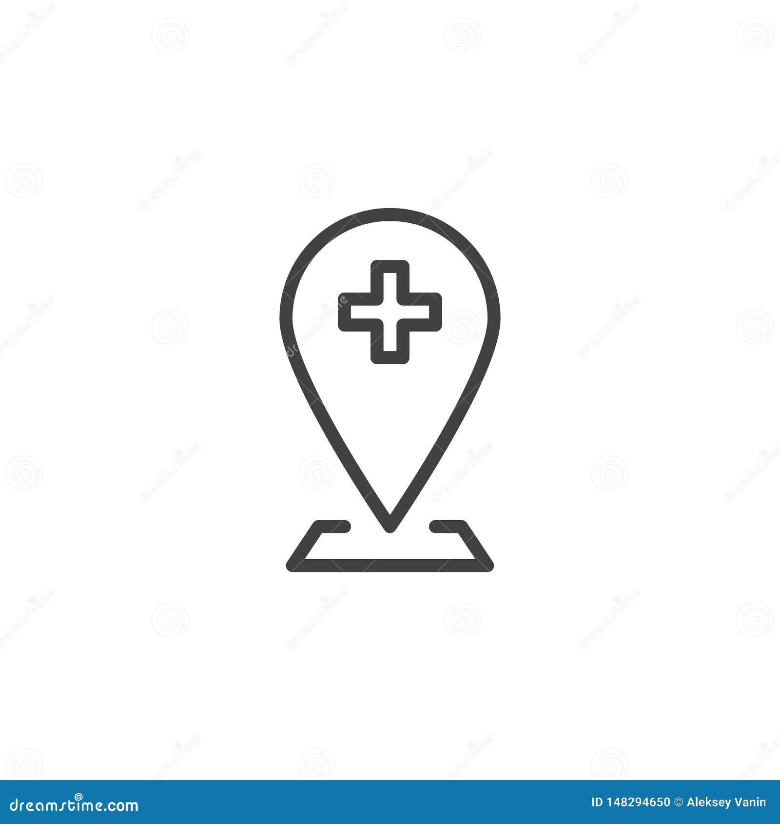 Hospital Location Pin Line Icon Stock Vector - Illustration