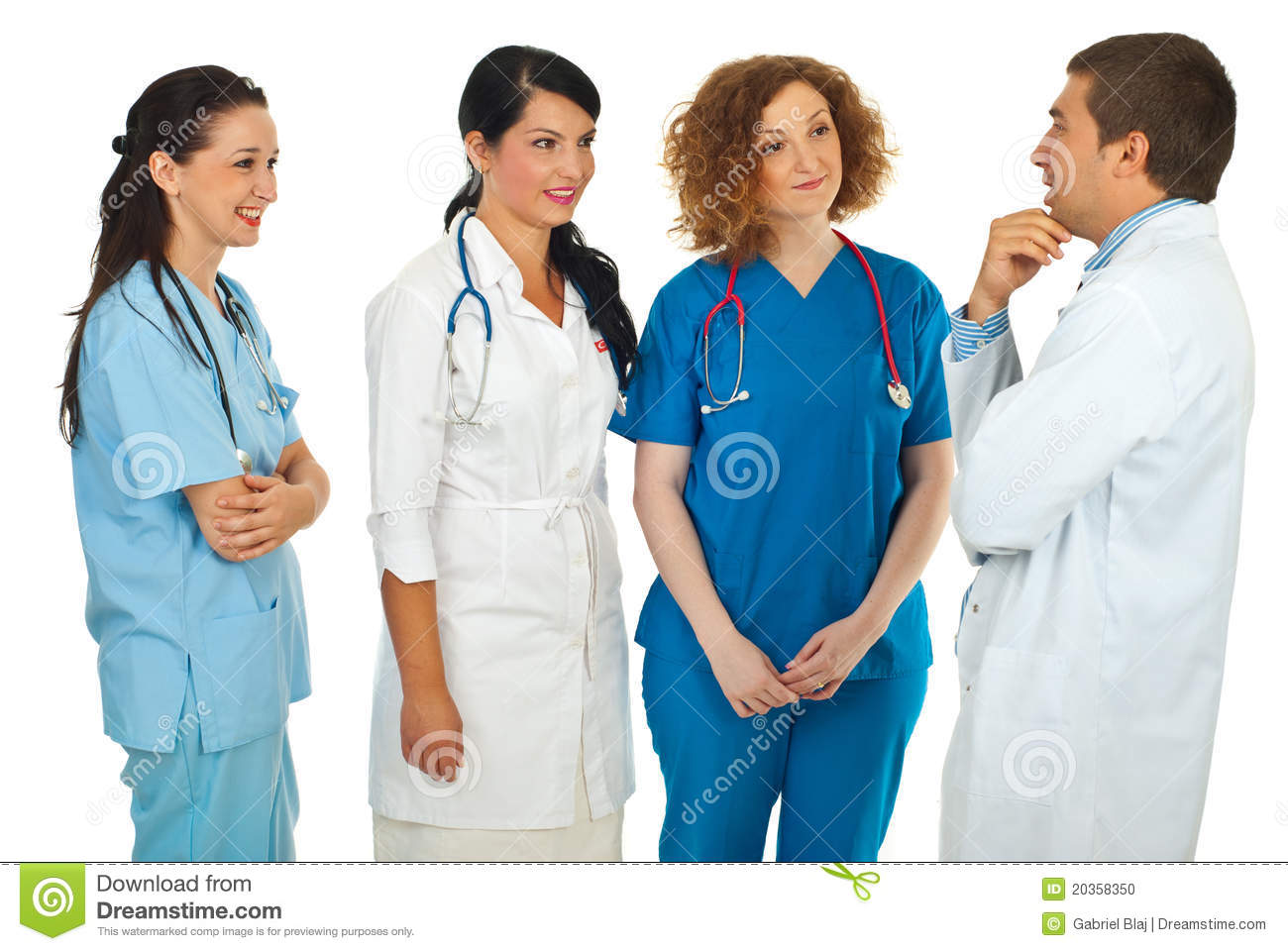 Hospital manager talking with doctors
