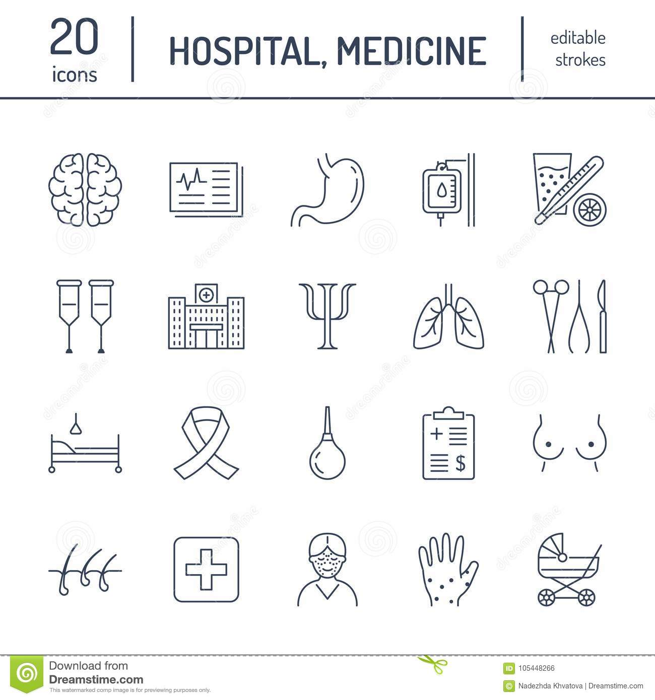 Hospital, medical flat line icons. Human organs, stomach, brain, flu, oncology, plastic surgery, psychology, breast