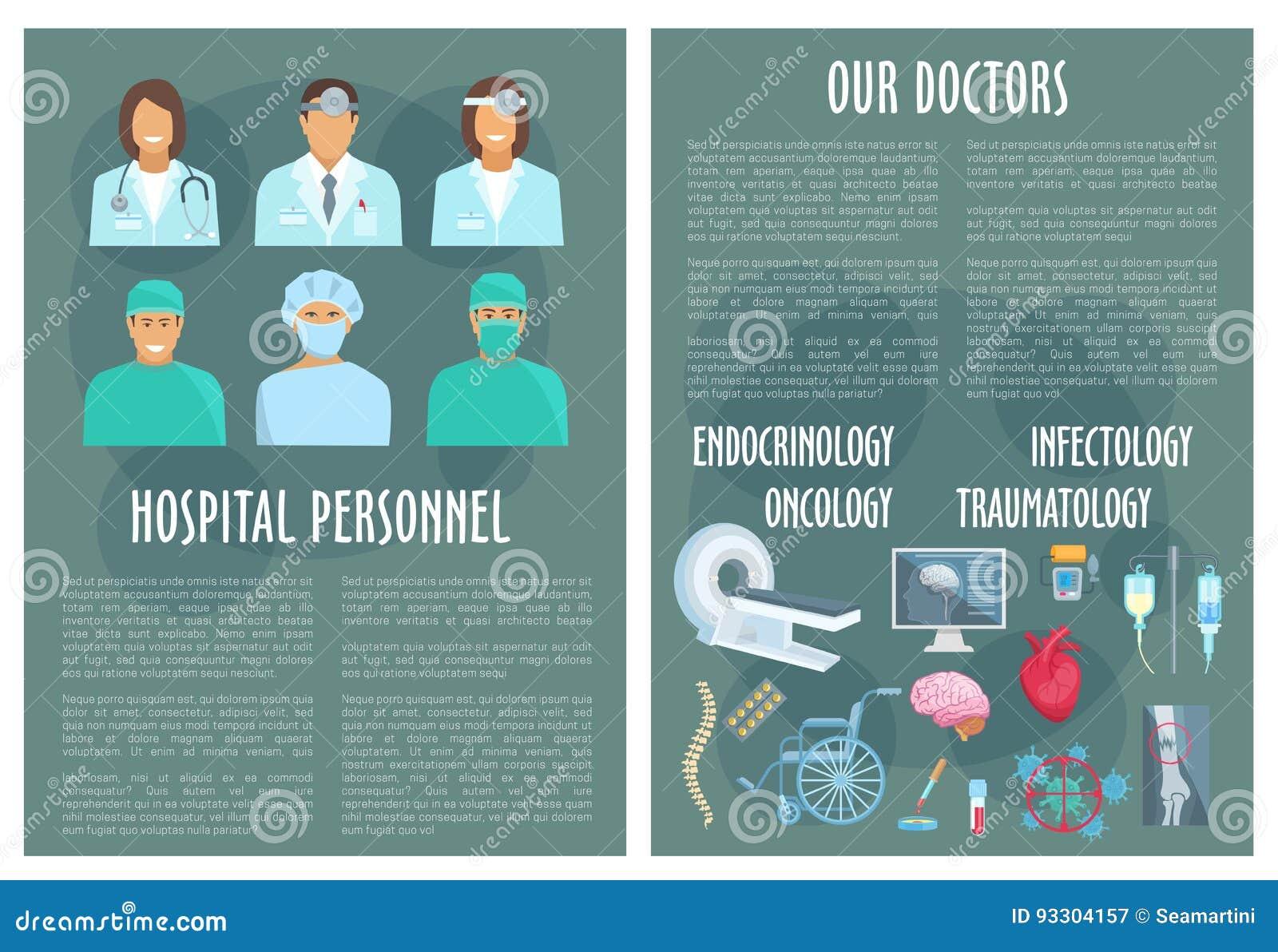 Poster design medical - Hospital Medical Personnel Doctor Poster Design Stock Vector