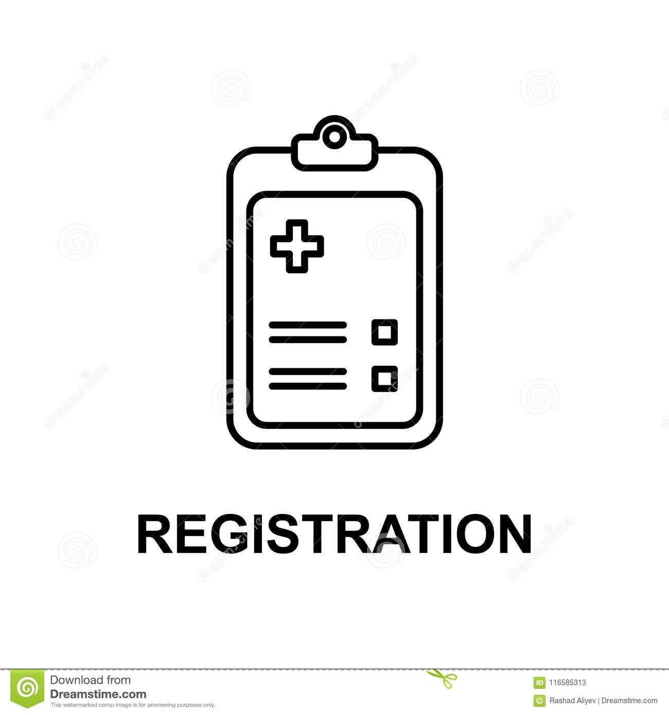 Hospital Registration Icon  Element Of Treatment With Name