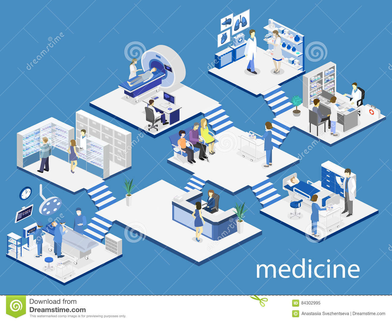 Hospital Reception Illustration Royalty Free Stock Photo