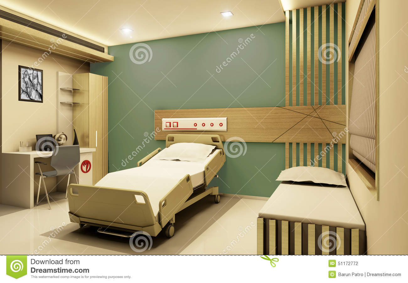 Hospital Room Realistic 3d View Stock Illustration