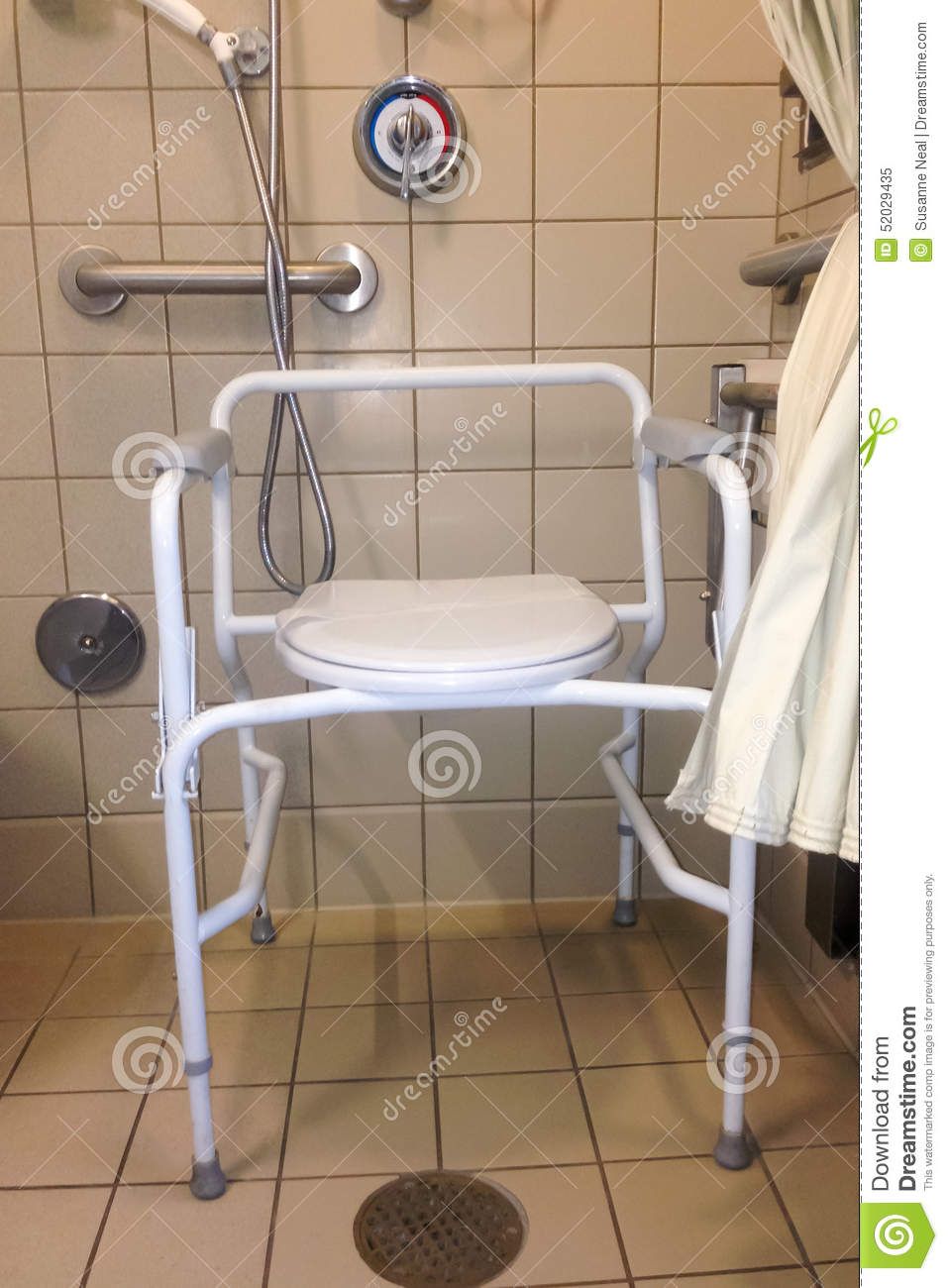 Hospital Shower Stall With Bedside Commode Stock Image