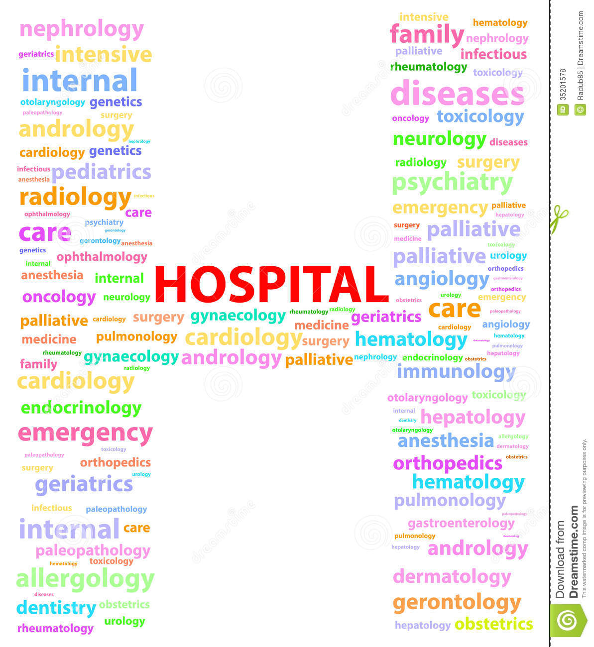 Hospital Sign With Medical Specialties Word Cloud Vector Illustration.
