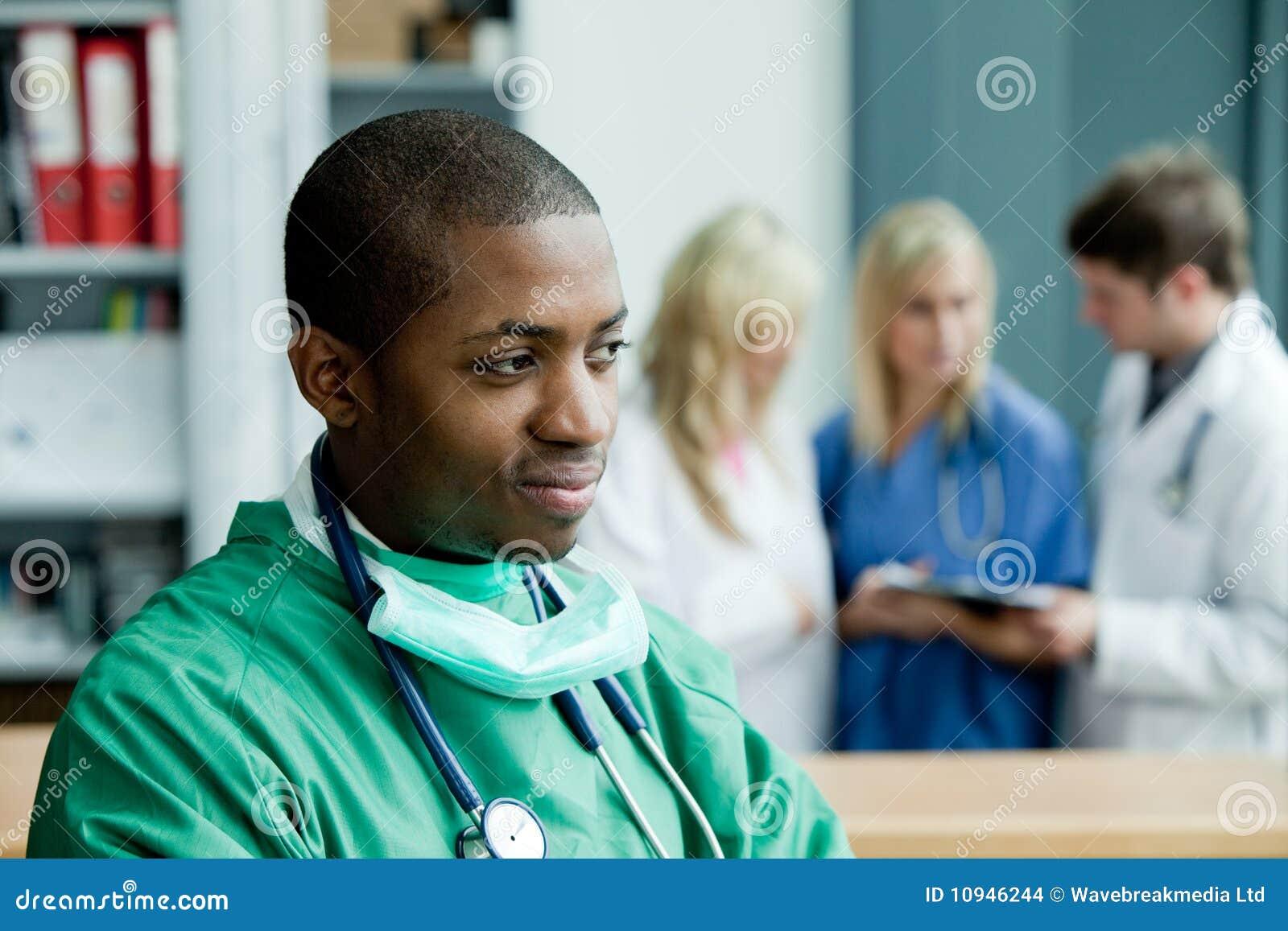 Hospital surgeon thinking