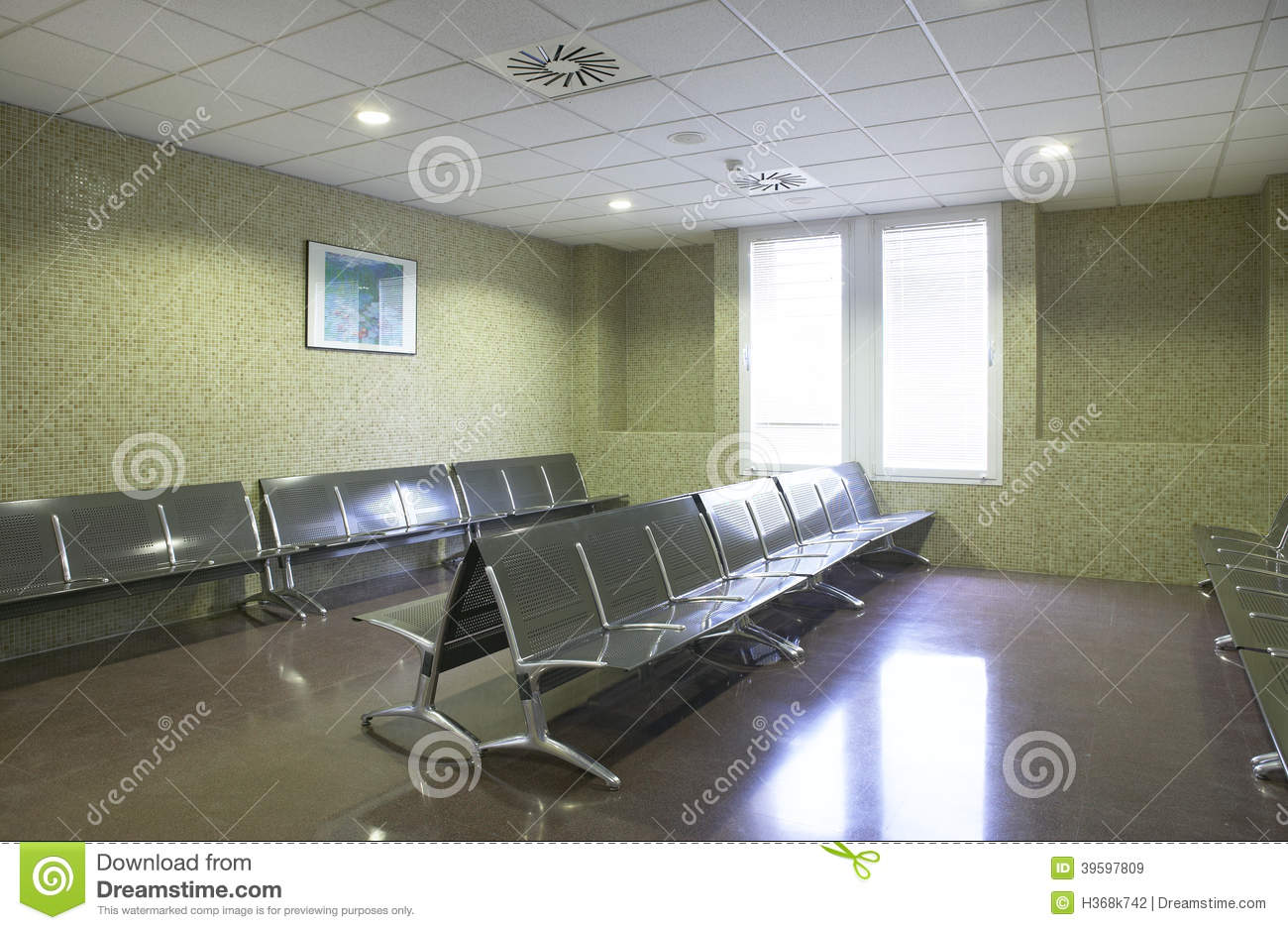 Hospital Waiting Area With Metallic Chairs Stock Photo
