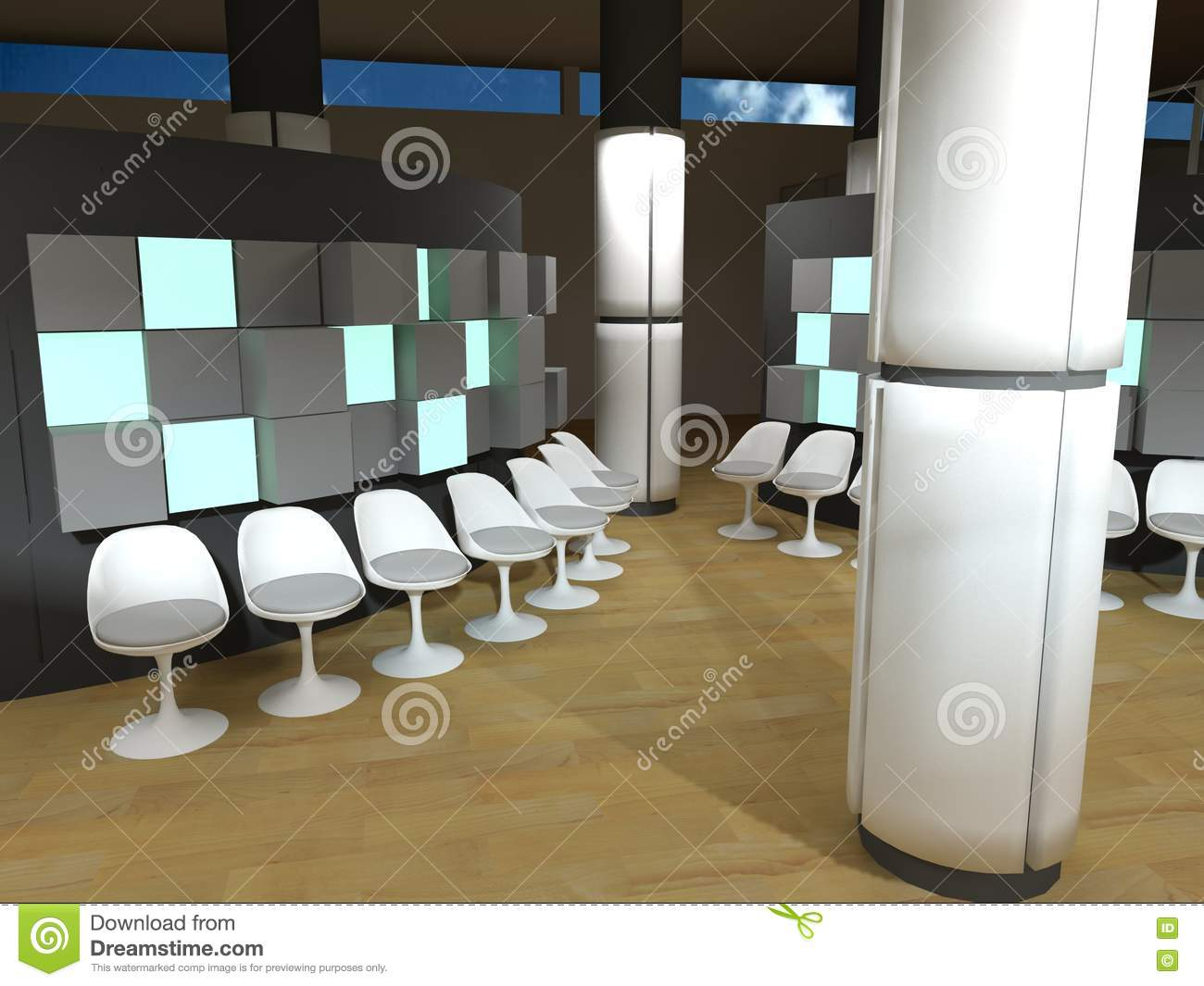 Hospital waiting room white chairs royalty free stock photography