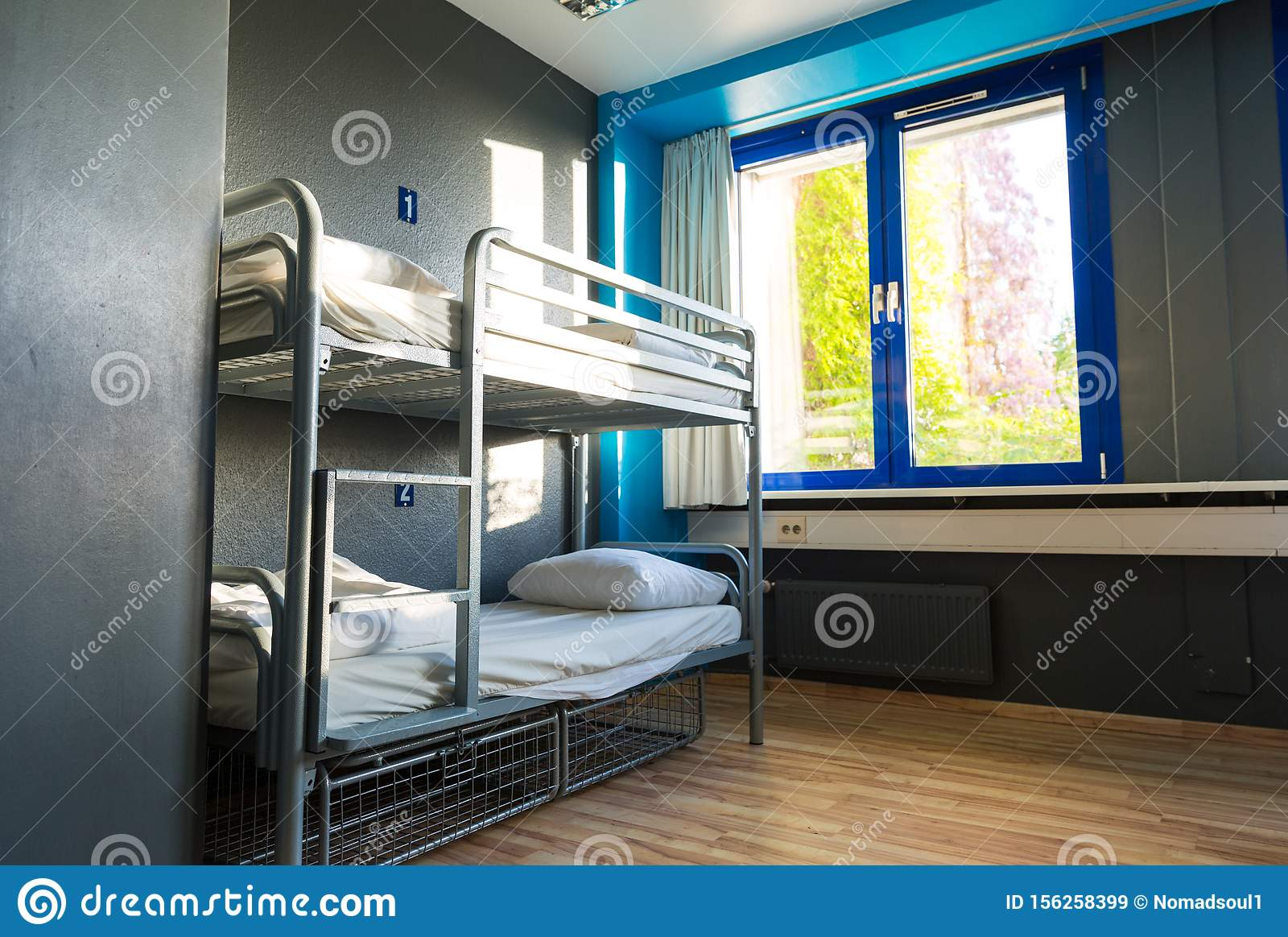 Picture of: Hostel Interior Metal Bunk Beds And Linen Nobody Stock Image Image Of Campus Modern 156258399