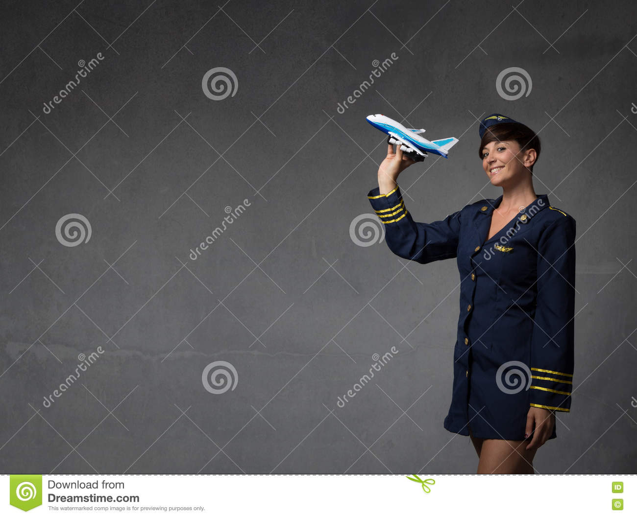 Hostess plaing with a toy plane