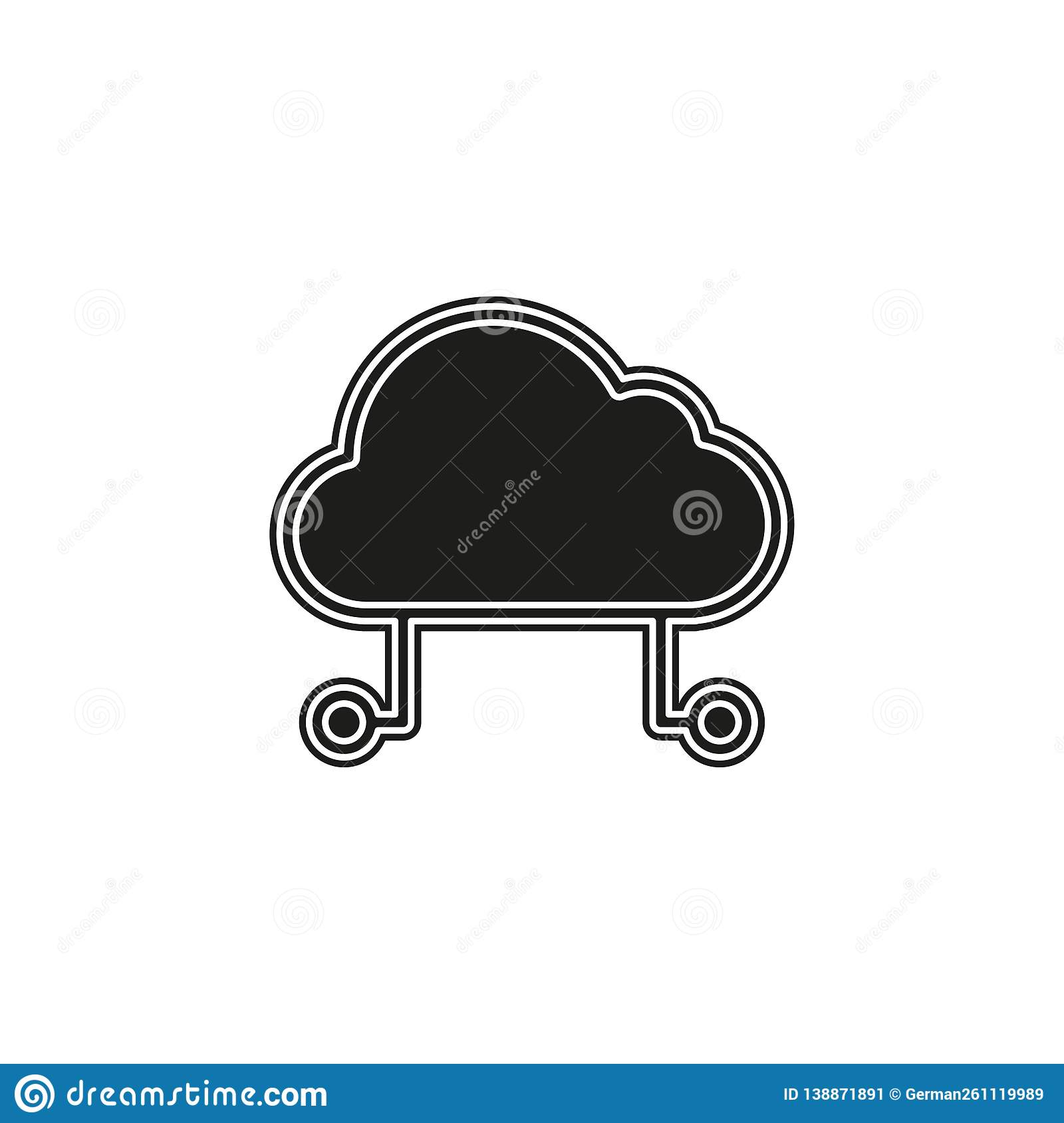hosting cloud icon, cloud computing technology