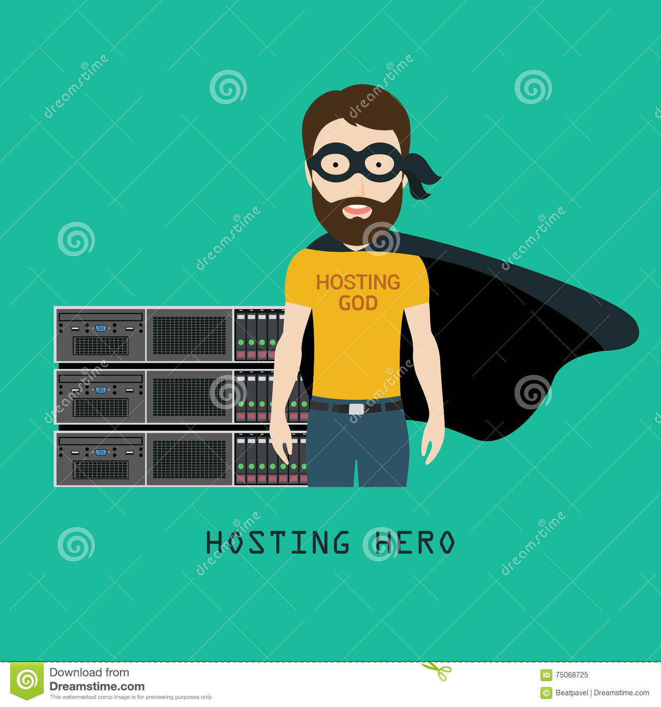 Admin Or hosting hero in front of servers rack stock illustration