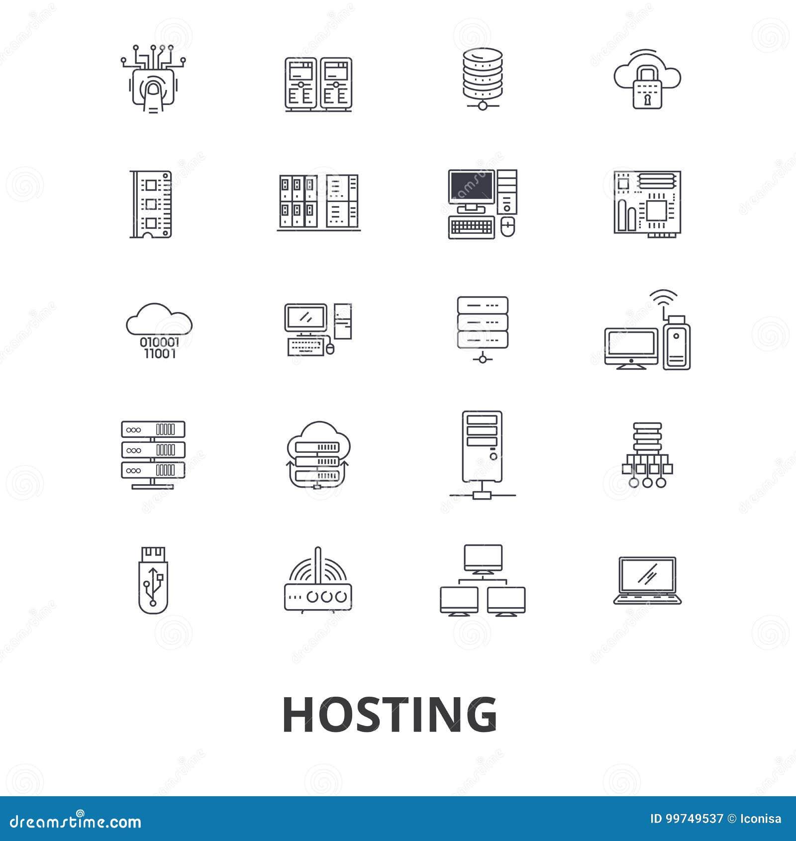 Hosting, Hosteß, Netz, Server, Wolkenhosting, Gebiet, rechnend, Interniertlinie Ikonen Editable Anschläge Flaches Design