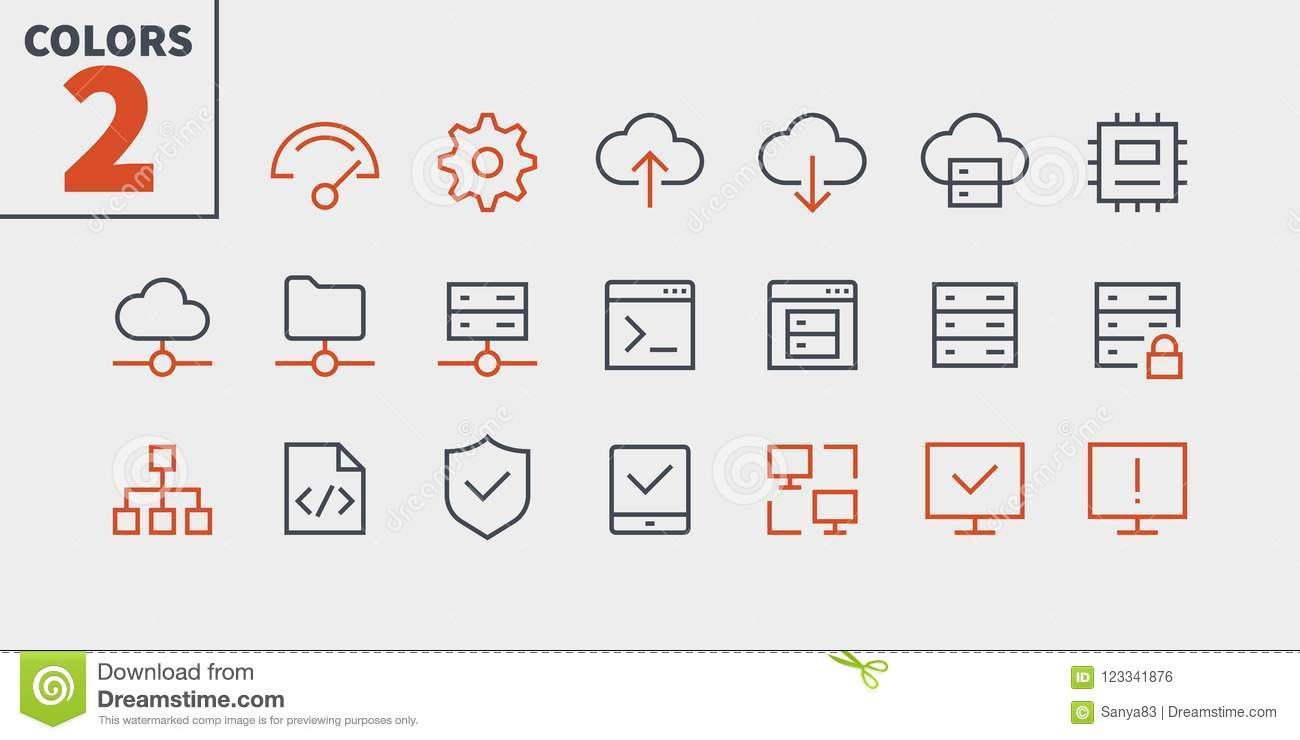 Hosting Pixel Perfect Well-crafted Vector Thin Line Icons 48x48 Ready for 24x24 Grid for Web Graphics and Apps with
