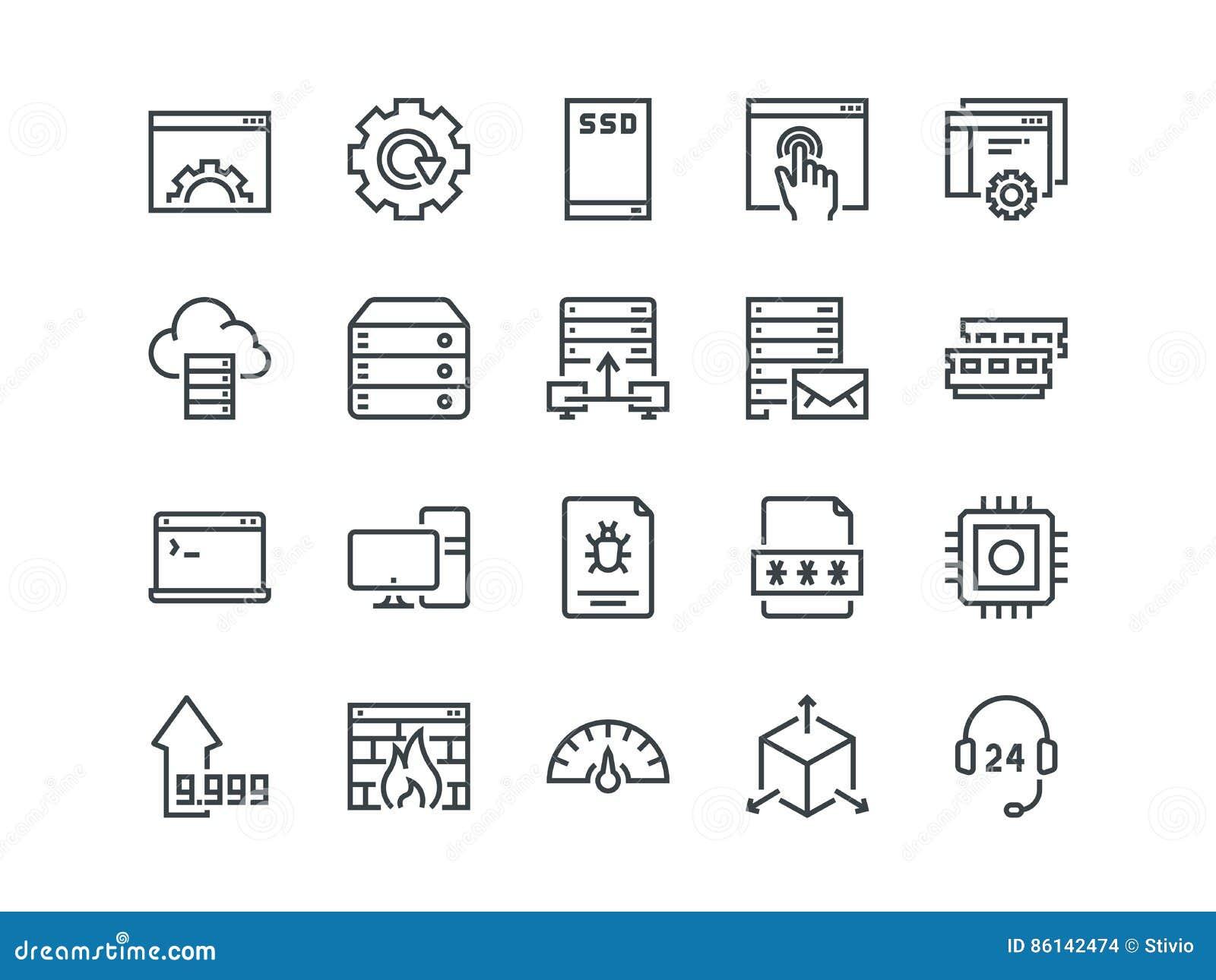 Hosting Reeks overzichts vectorpictogrammen Omvat zoals de Schijf, het Controlebord, het Verkeer, de Firewall en andere van SSD e