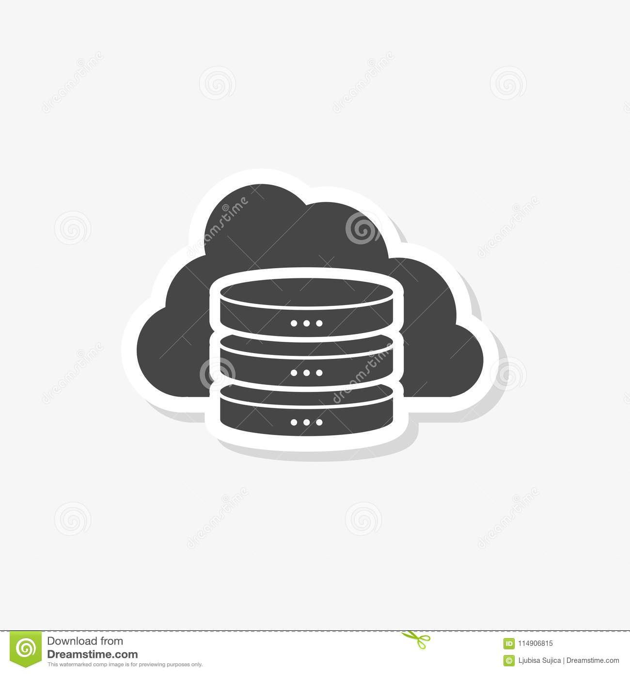 Hosting Server Sticker, Database Icon, Simple Vector Icon Stock
