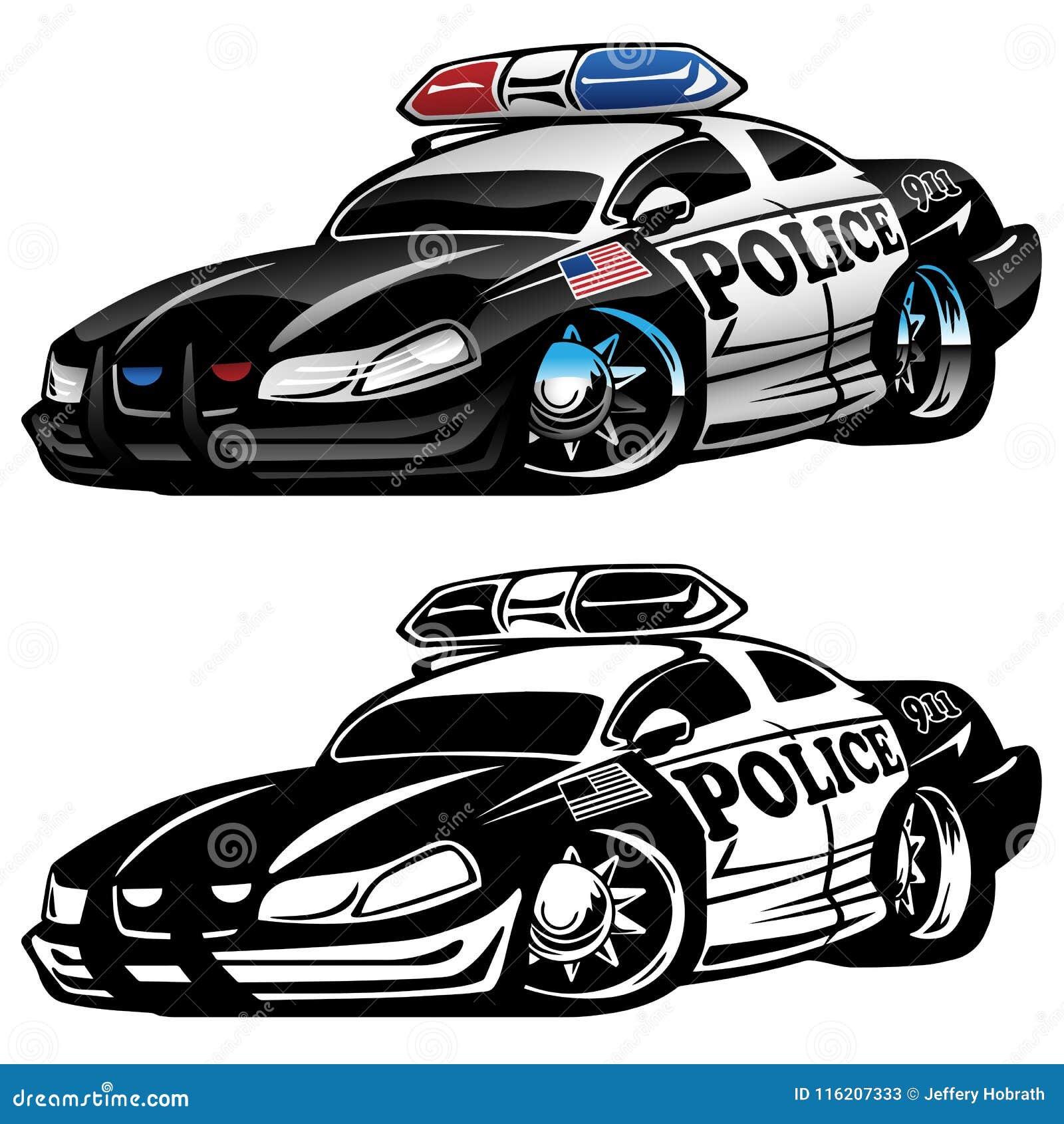 Police Muscle Car Cartoon Vector Illustration Stock Vector
