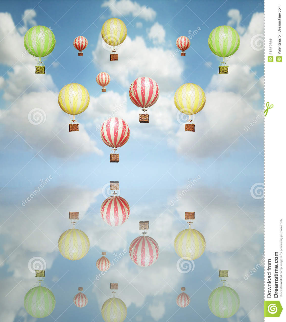 Many Beautiful Balloons In The Sky : ... many colorful hot air balloon in the sky with its reflection above