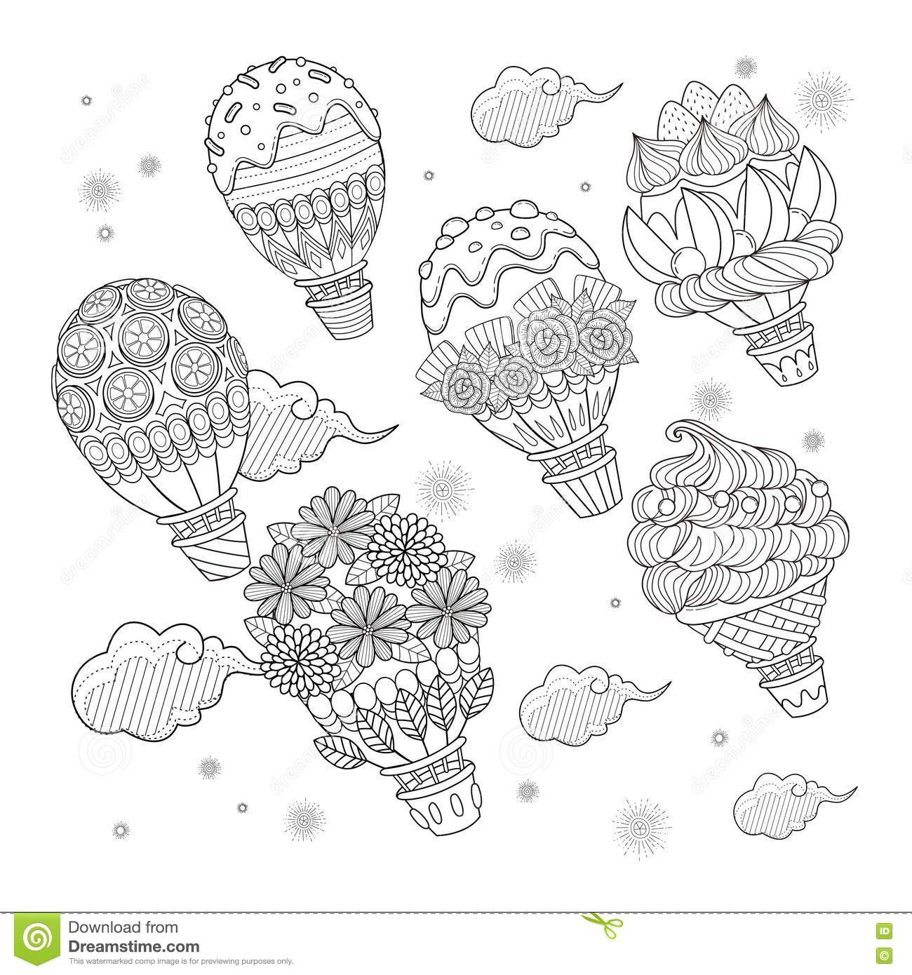 Hot air balloon #46 (Transportation) – Printable coloring pages | 1390x1300