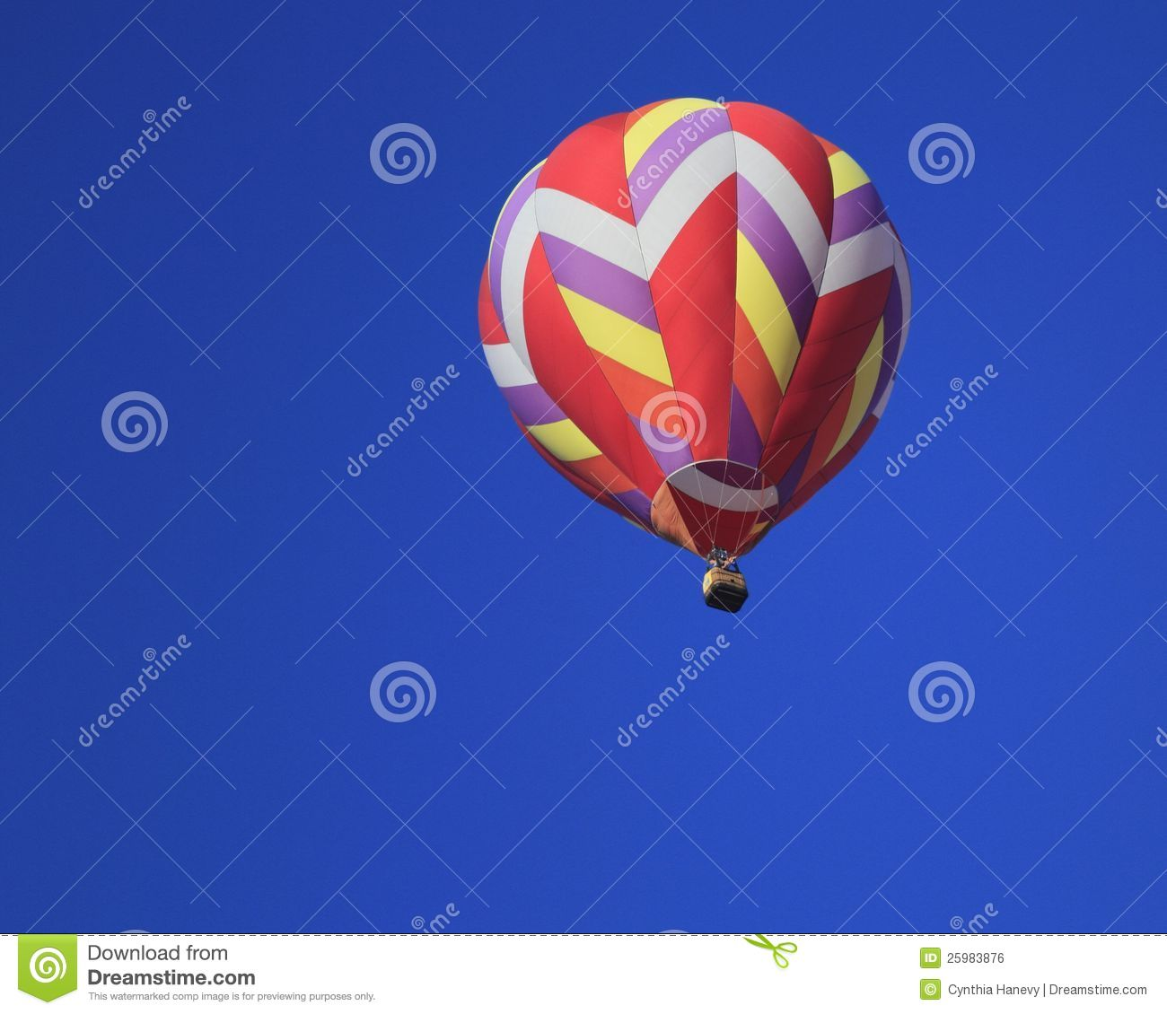 Hot Air Balloon Aloft in Blue Sky-Achievement
