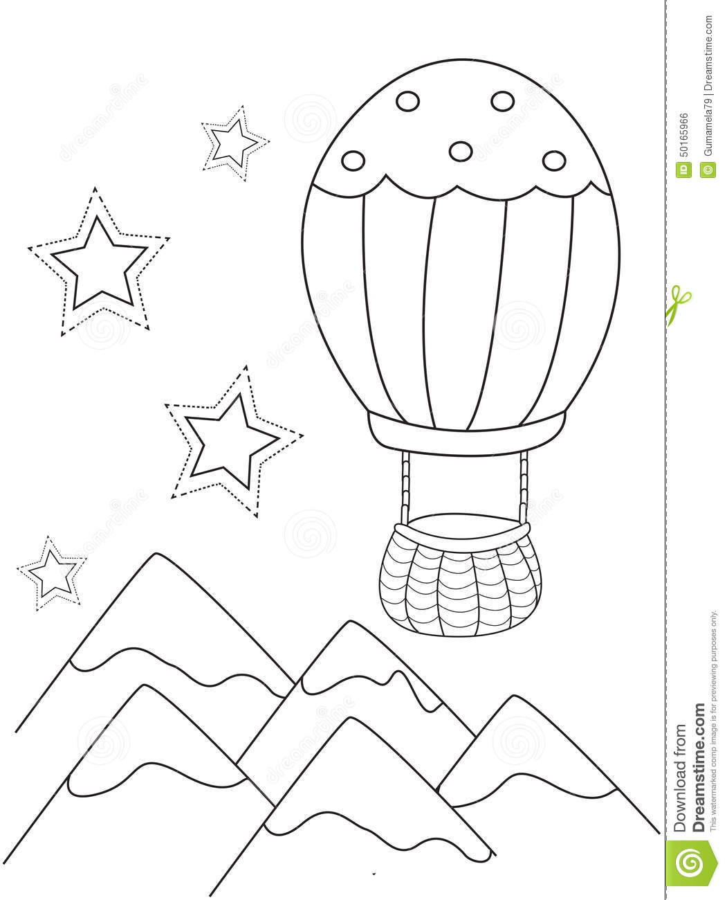 air balloon coloring page stock illustration image 50165966