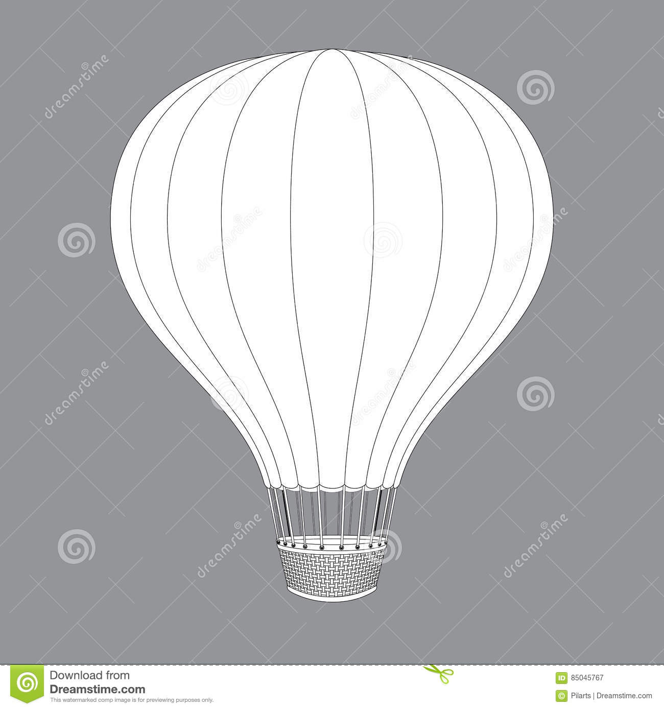 Hot Air Balloon. Contour Drawings For Color Design Stock Image ...