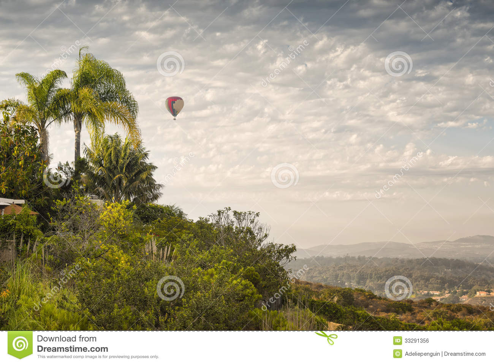 Hot Air Balloon In Flight San Diego California Royalty