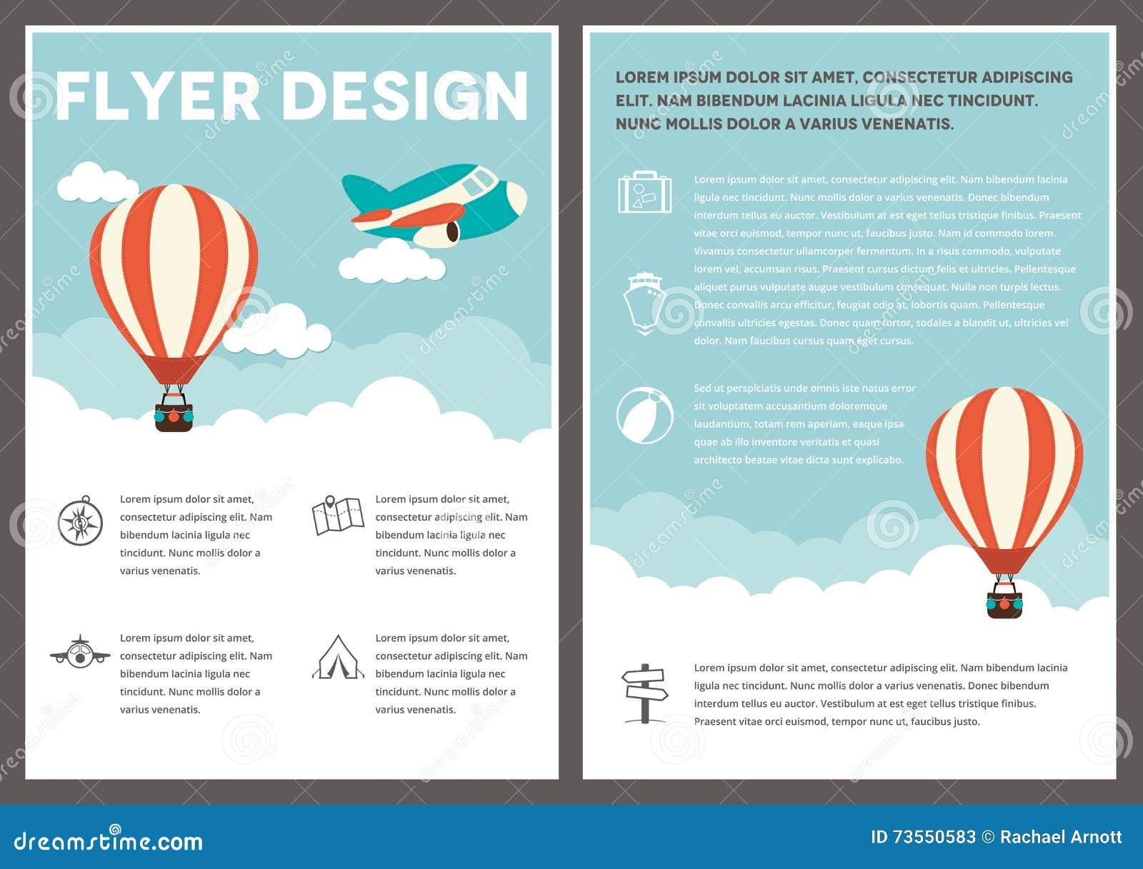 Hot Air Balloon Flyer Template Design Stock Vector - Illustration of ...