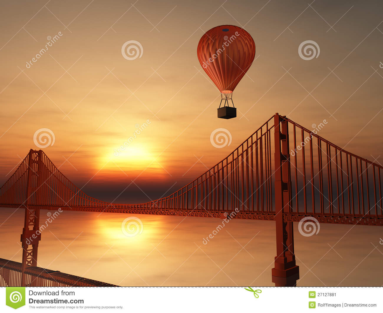 Hot Air Balloon And Golden Gate Stock Illustration Image