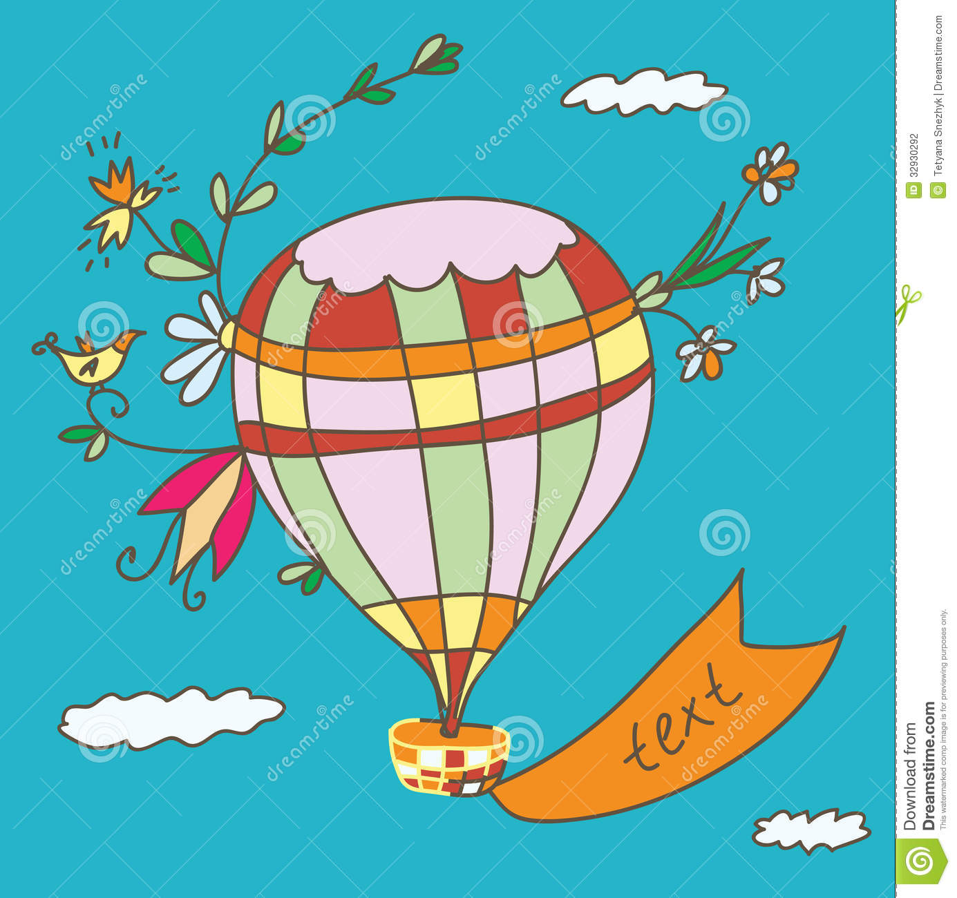 Hot air balloon greeting card stock vector illustration of cute hot air balloon greeting card bookmarktalkfo Image collections