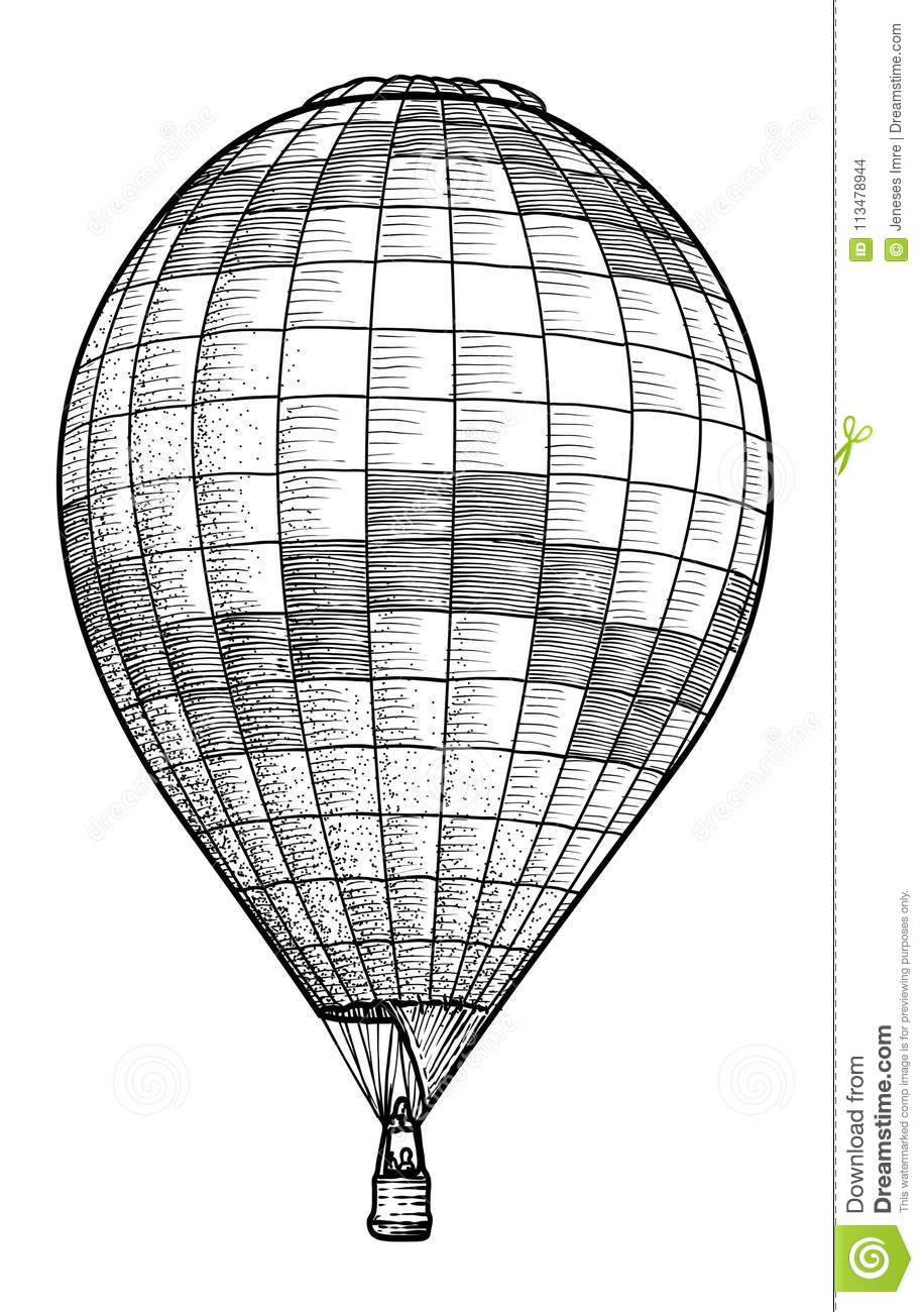 Hot Air Balloon Illustration, Drawing, Engraving, Ink, Line Art ...