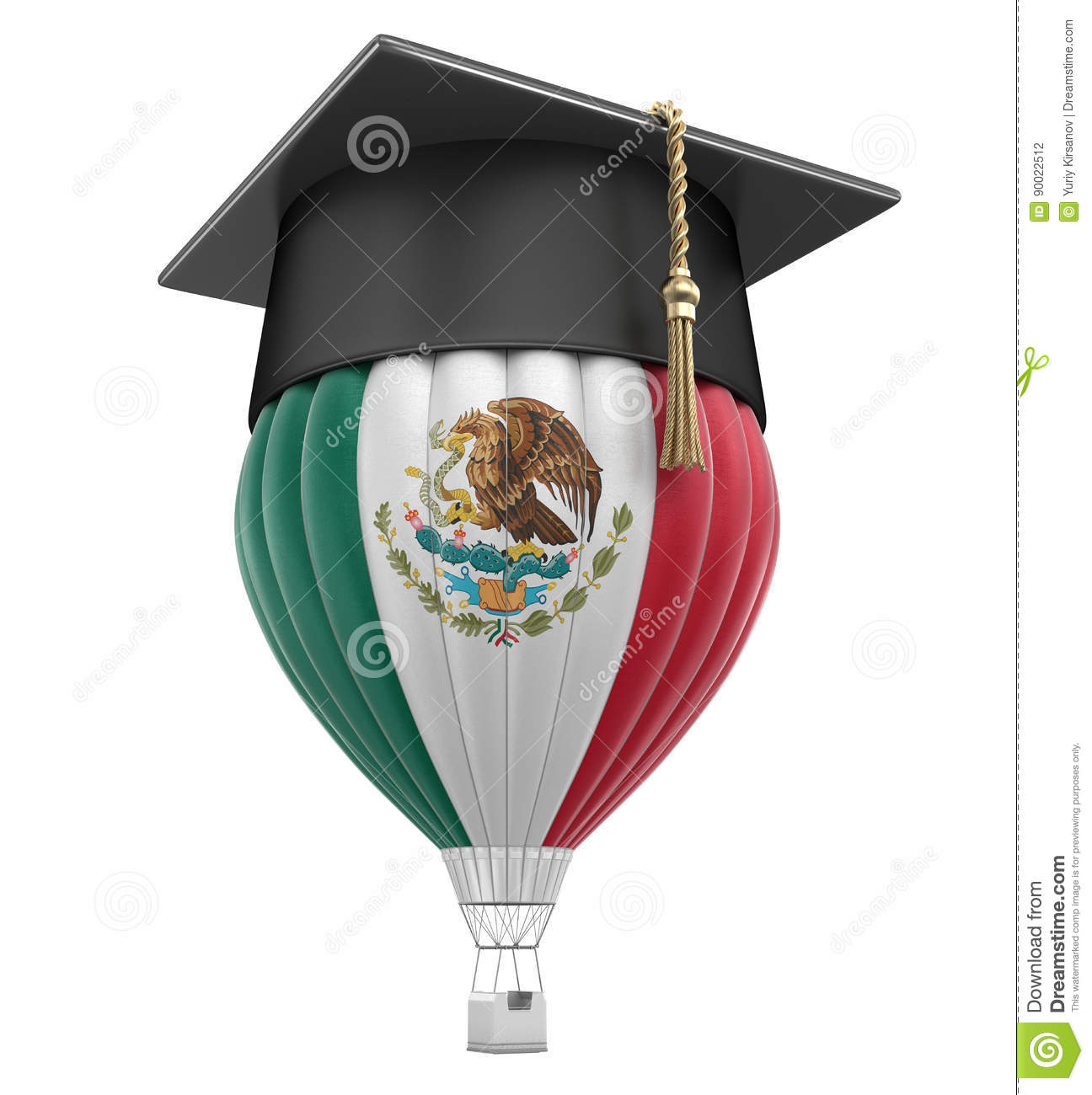air balloon with mexican flag and graduation cap stock