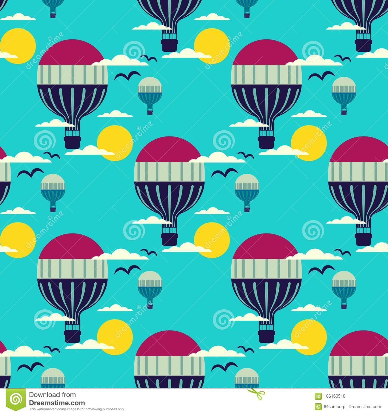 Hot air balloon pattern stock vector. Illustration of cute - 106160510