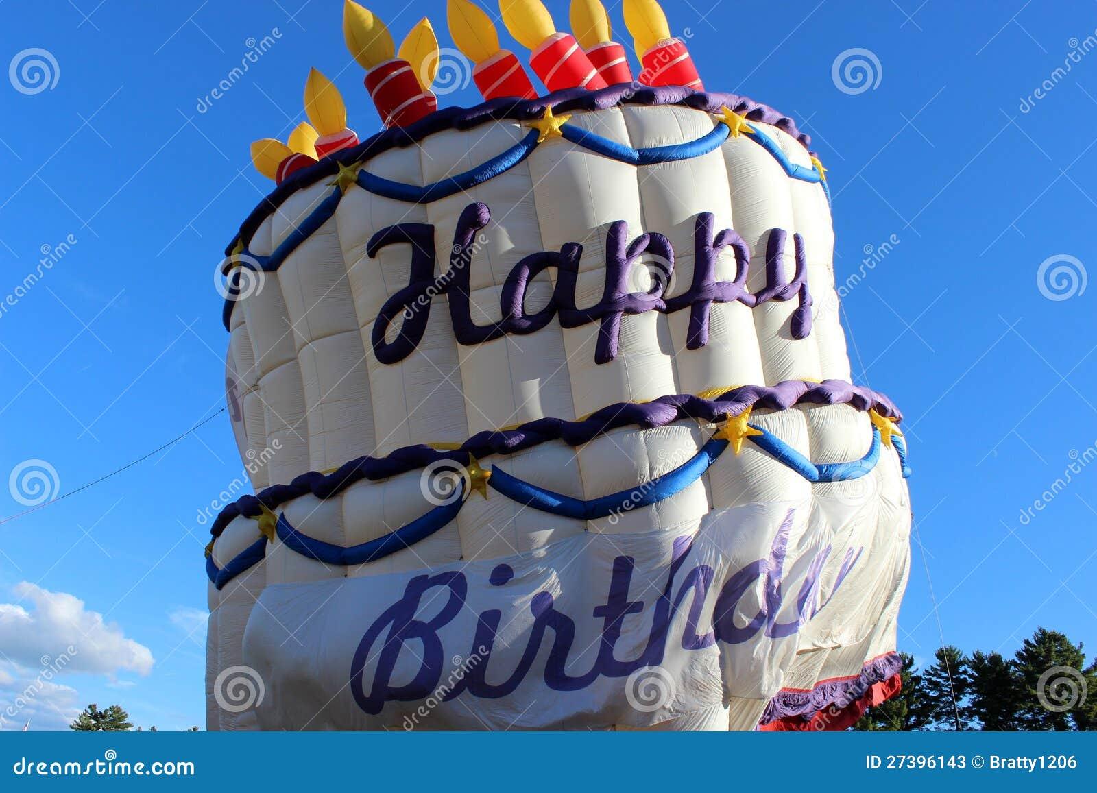 Hot Air Balloon Saying Happy Birthday Stock Image Image