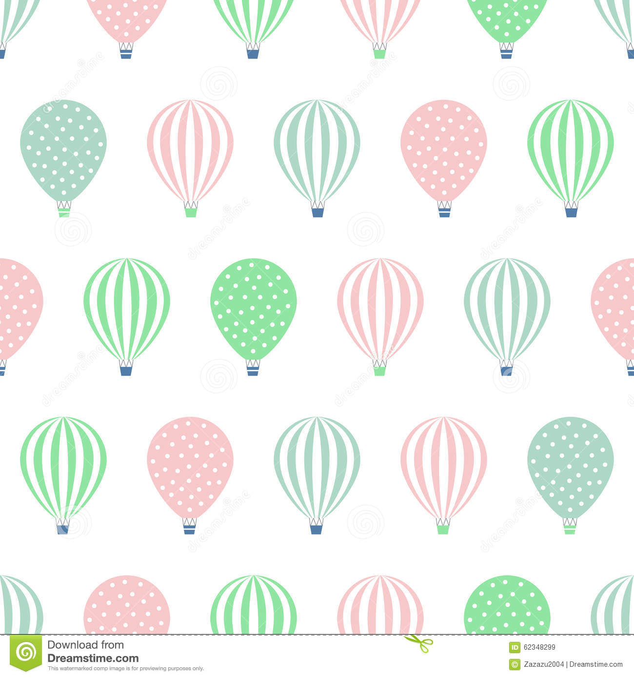 Hot Air Balloon Seamless Pattern Baby Shower Vector Illustrations