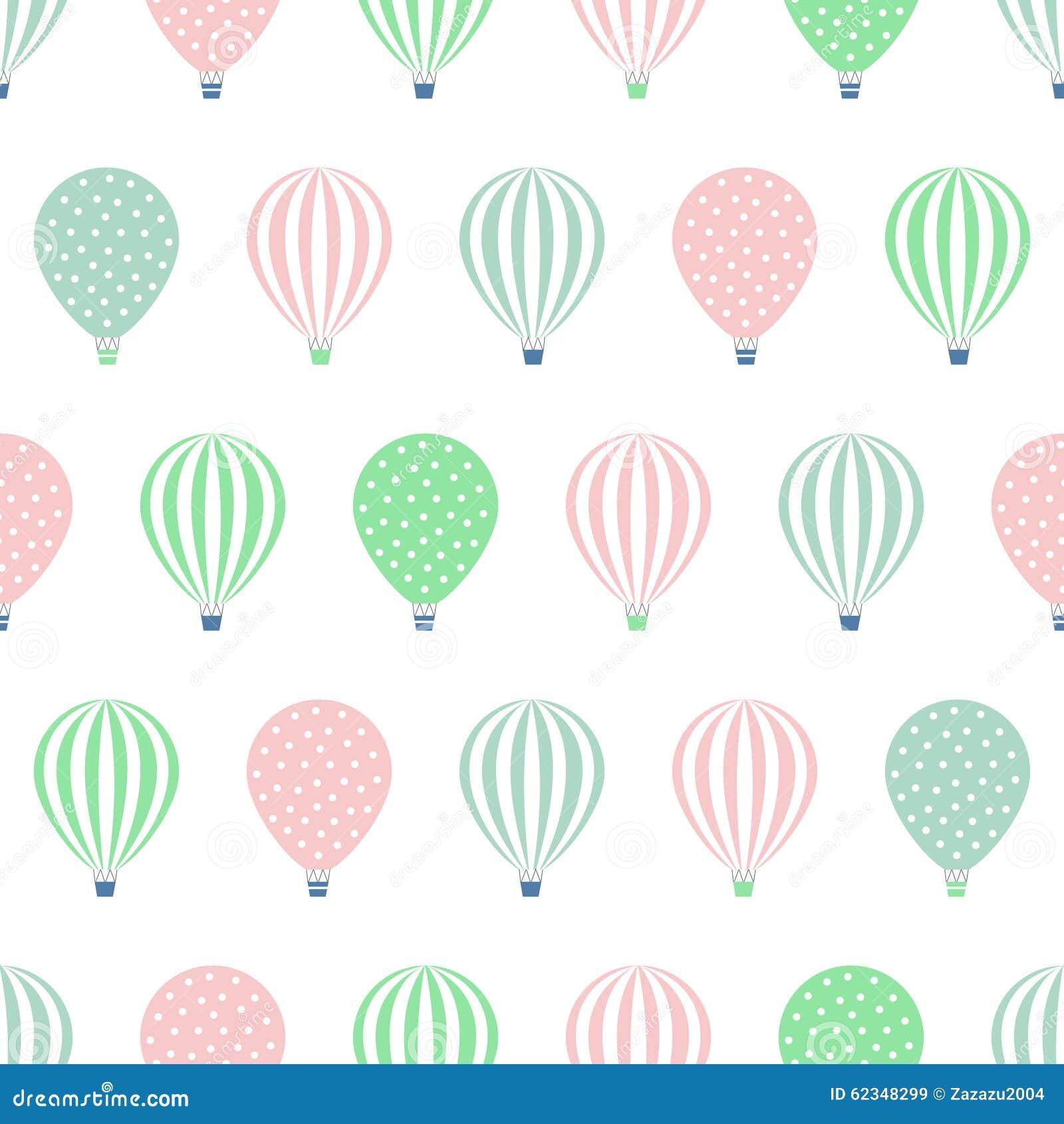 Hot Air Balloon Seamless Pattern. Baby Shower Vector ...