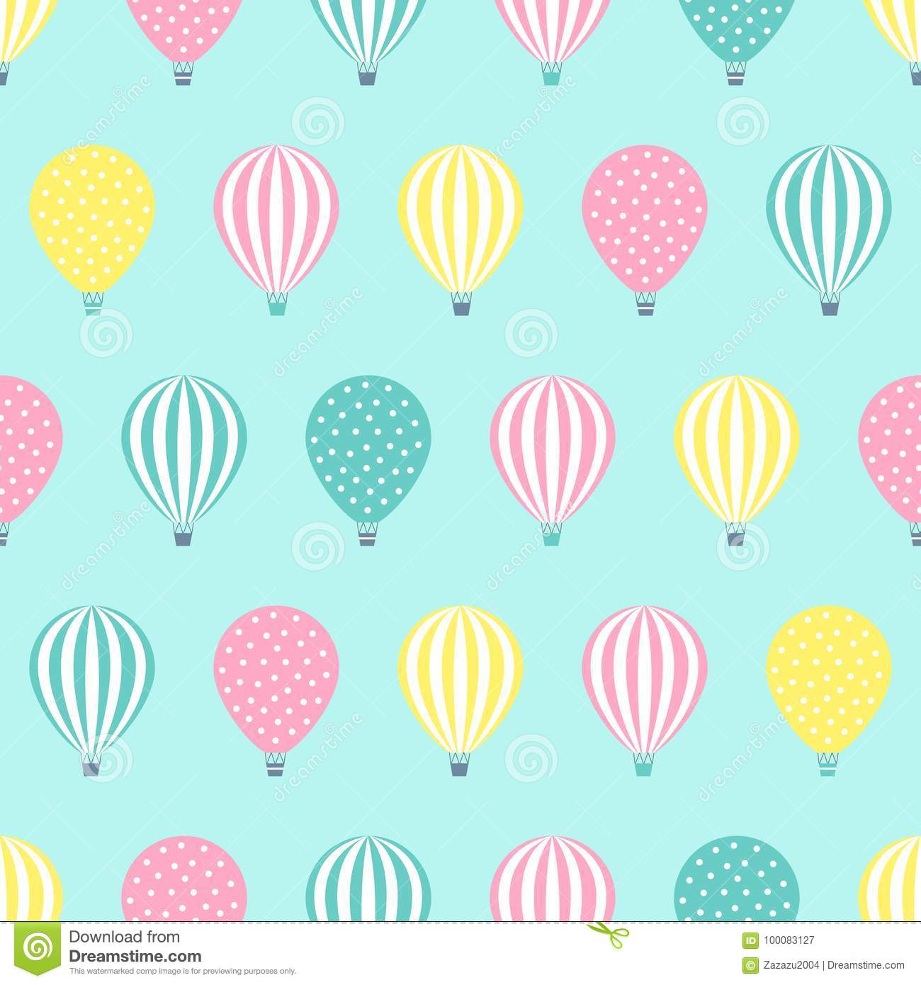 Hot Air Balloon Seamless Pattern Stock Vector Illustration Of Colorful Wallpaper 100083127