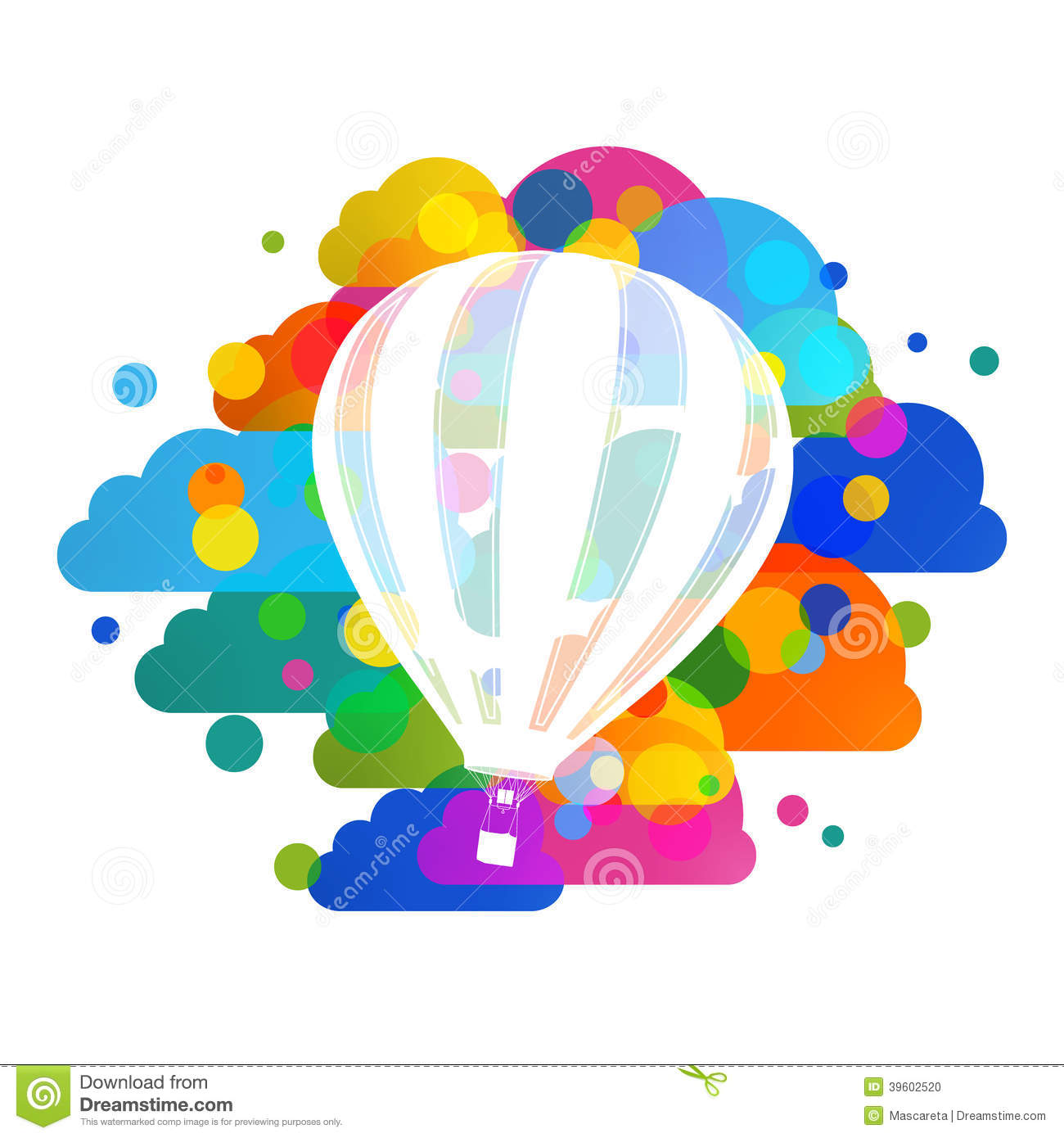 Hot air balloon silhouette, colorful clouds abstract vector background