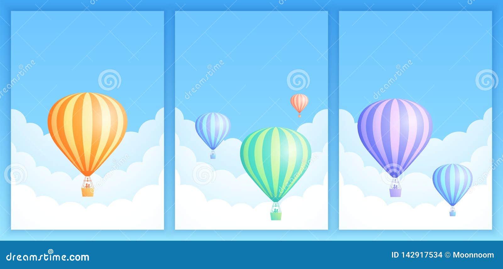 Hot Air Balloon Sky Flight Carnival Template Set Stock ...