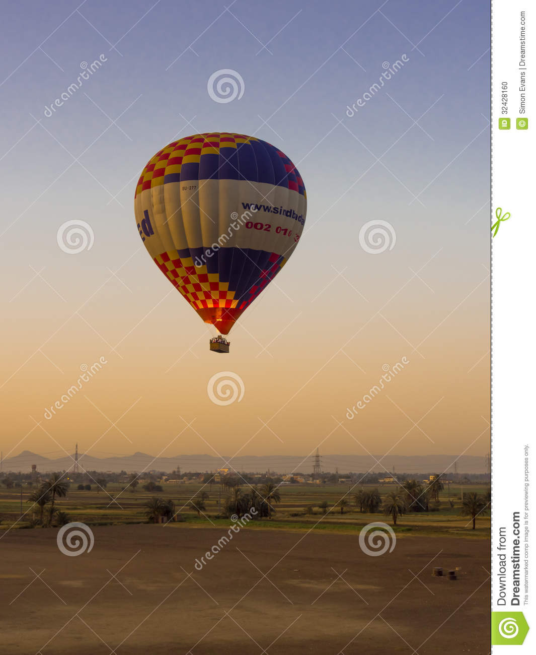 Hot Air Balloon At Sunrise In Luxor Editorial Image