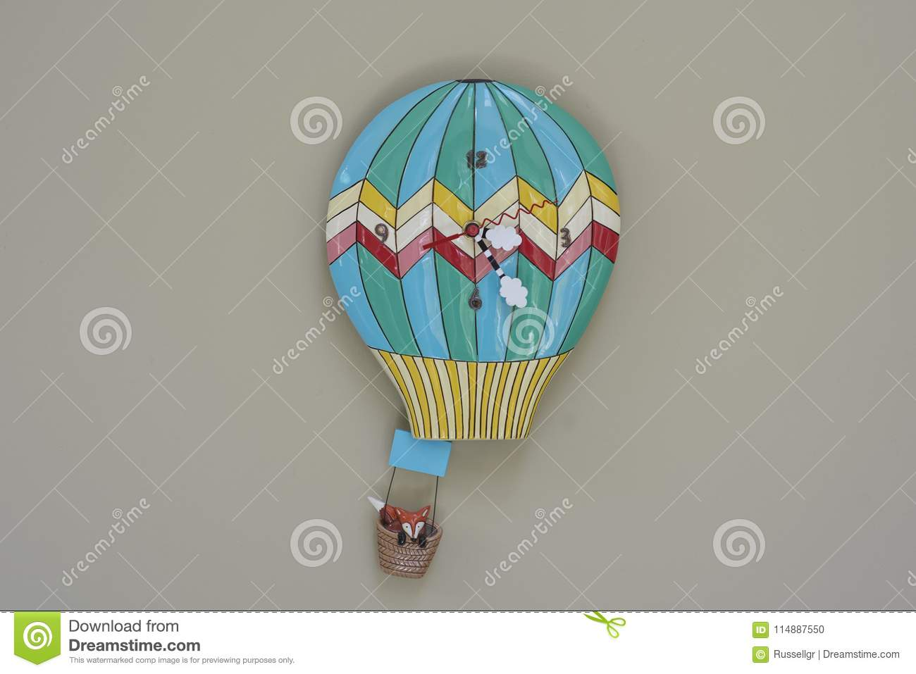 Hot Air Balloon Wall Clock In Kitchen Stock Photo - Image of ...