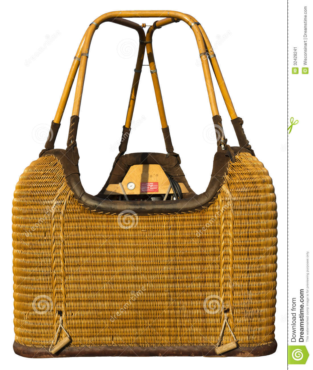 Hot Air Balloon Wicker Basket Gondola Isolated Stock Image