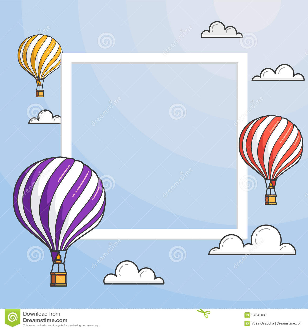 Hot Air Balloons In Blue Sky With Clouds Frame Copyspace For