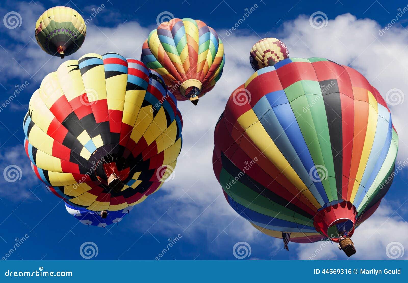 Hot Air Balloons Drifting Upward
