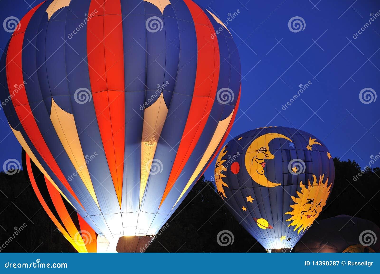 Hot Air Balloons At Night Royalty Free Stock Photography ...