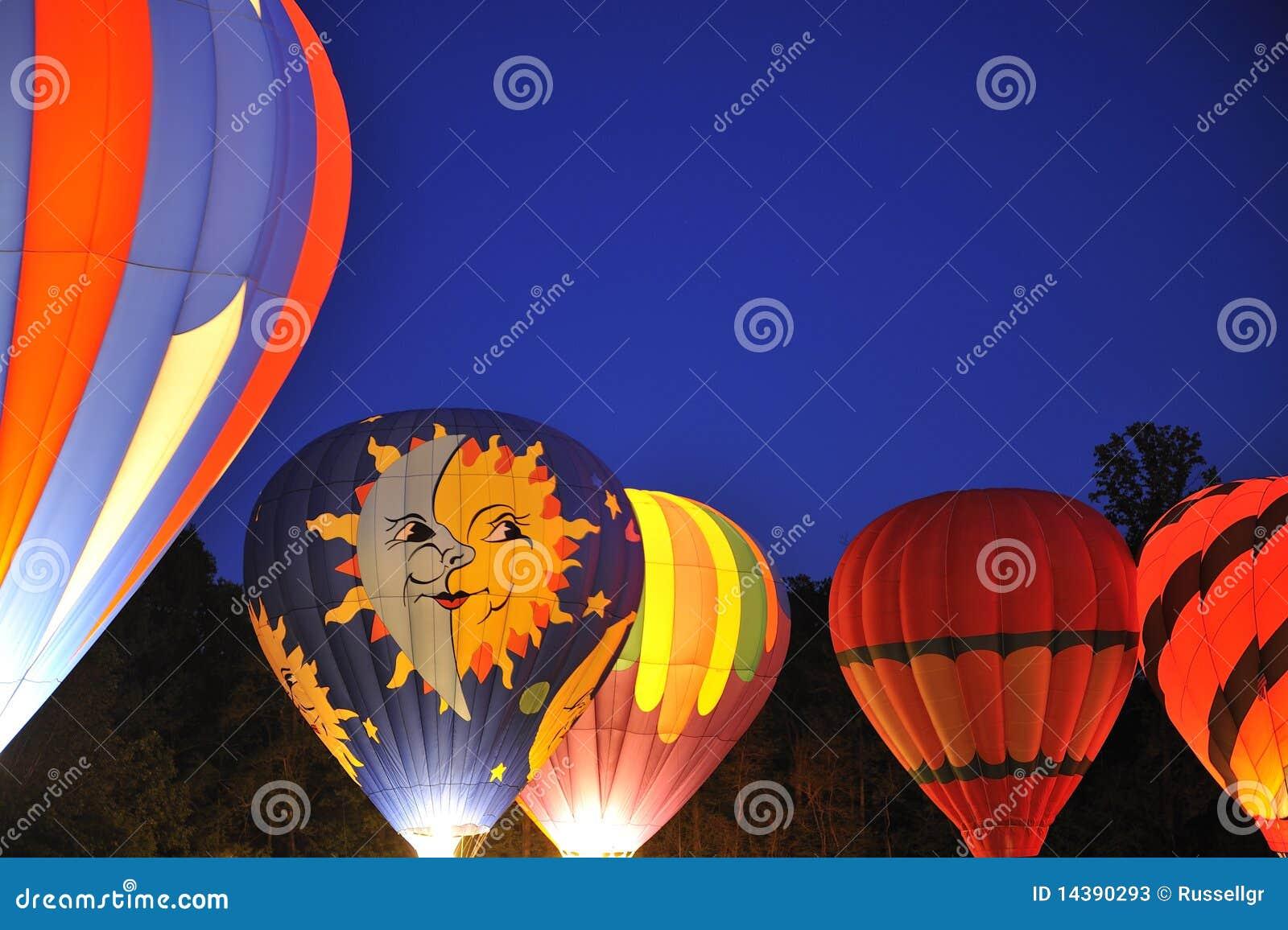 Hot Air Balloons At Night Stock Photos - Image: 14390293