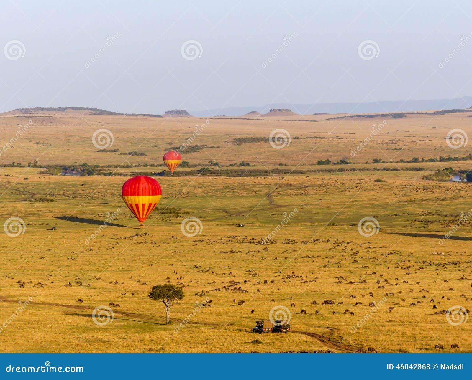 Hot air balloons over the Masai Mara