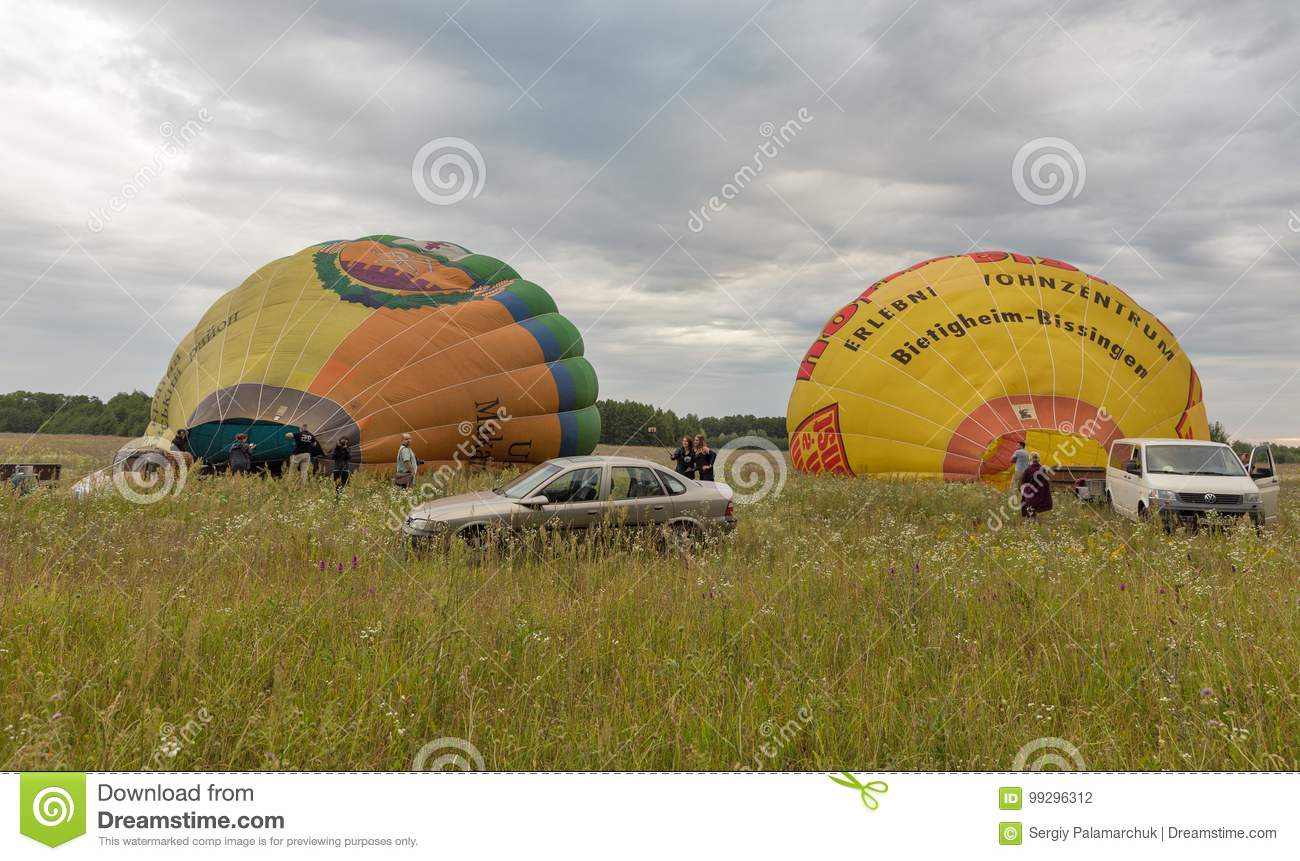 Hot Air Balloons Preparing To Flight Makariv Ukraine