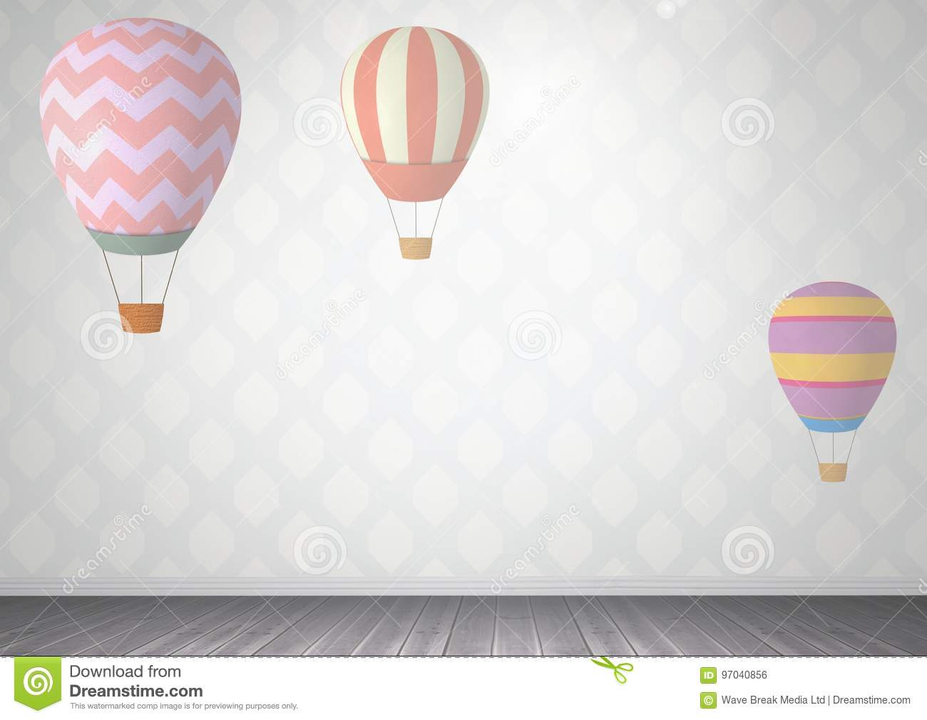 hot air balloons in room