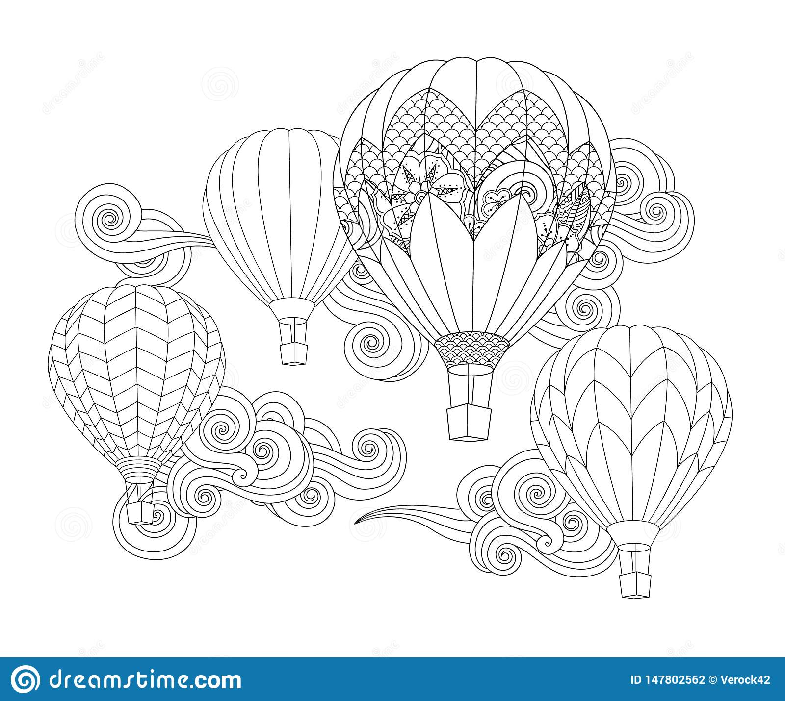 Hot Air Balloons In The Sky Zentangle Inspired Doodle Style